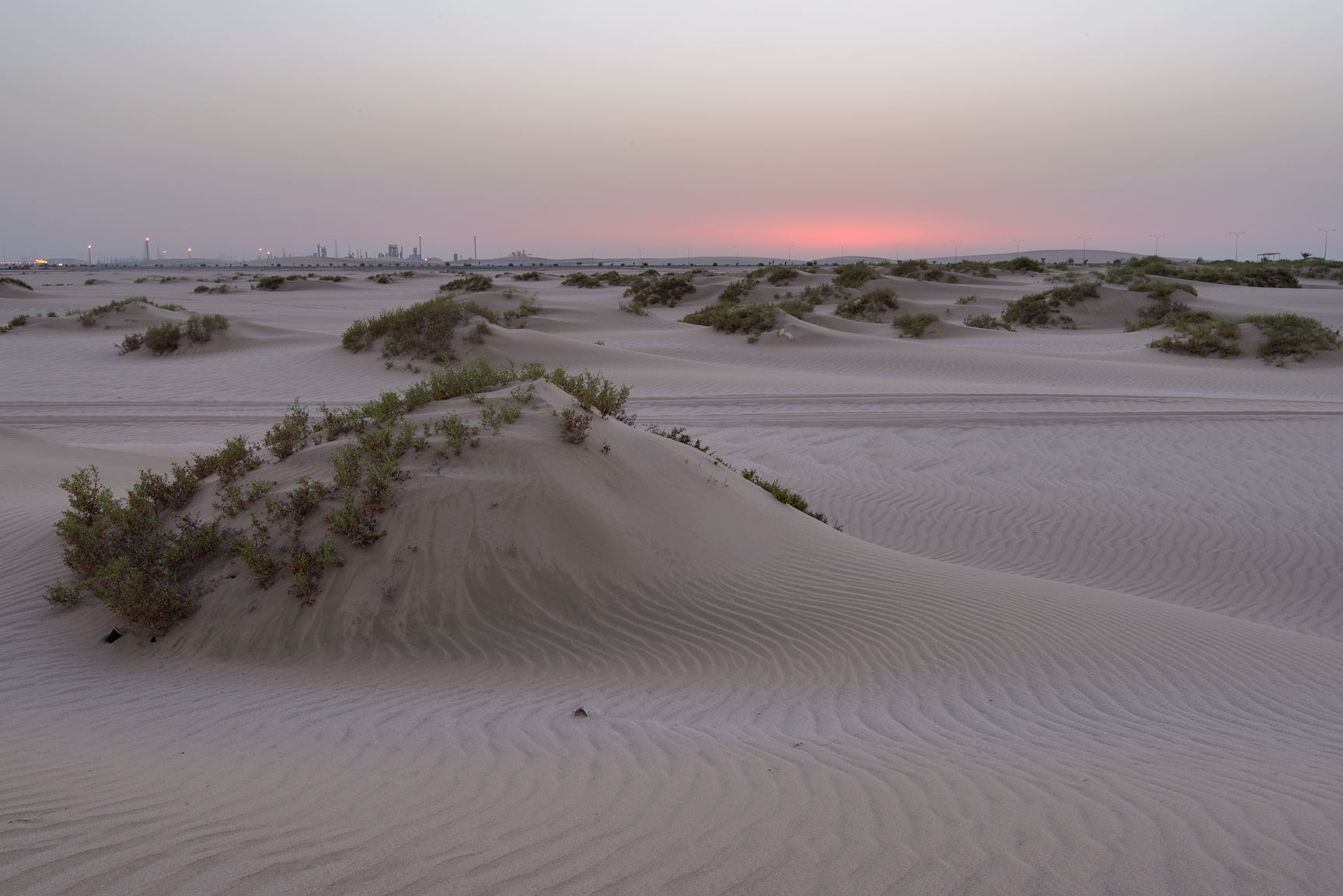 Sunrise in sands south from Sealine Beach Resort near Mesaieed. Southern Qatar
