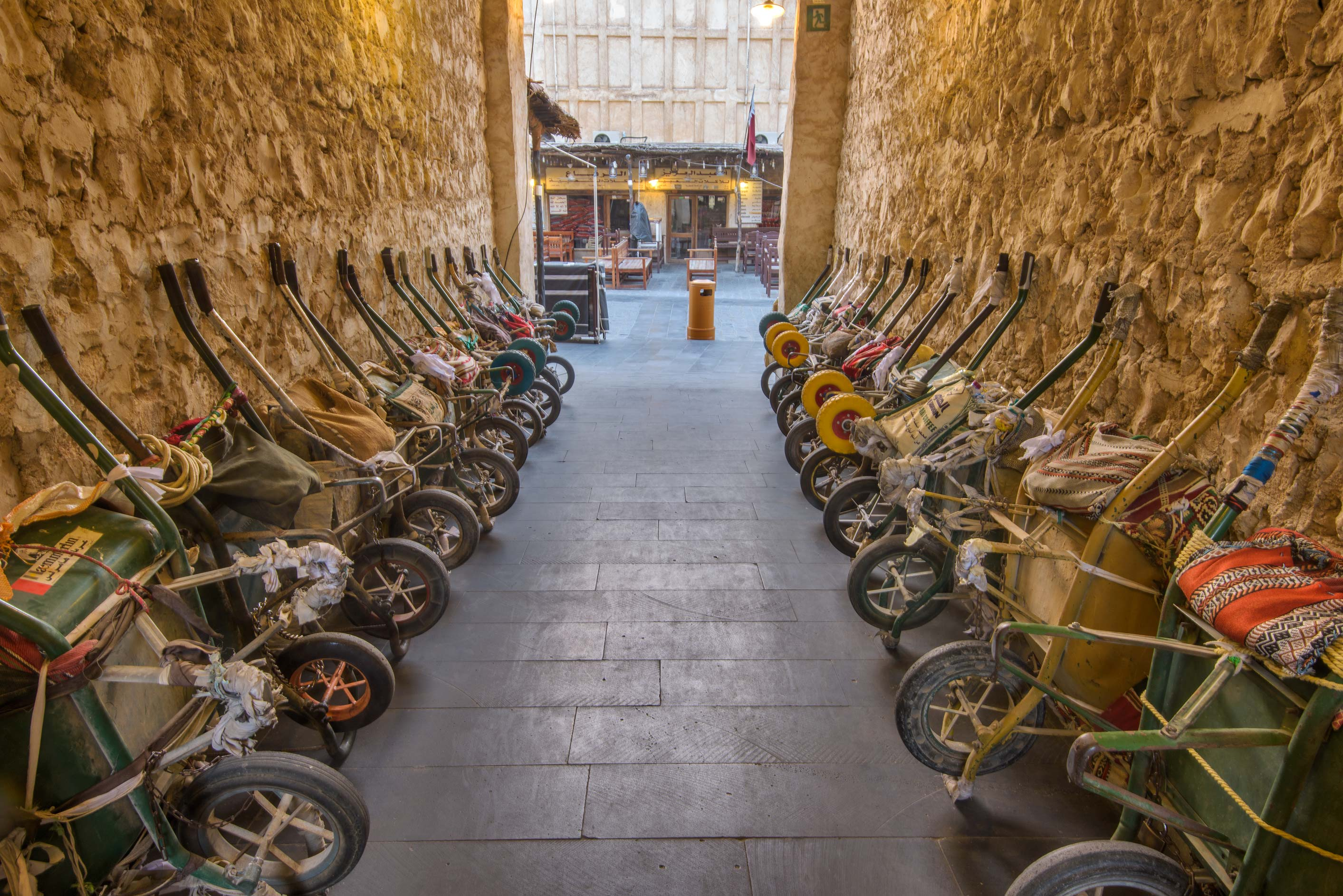 Rows of carts in Souq Waqif (Old Market). Doha, Qatar