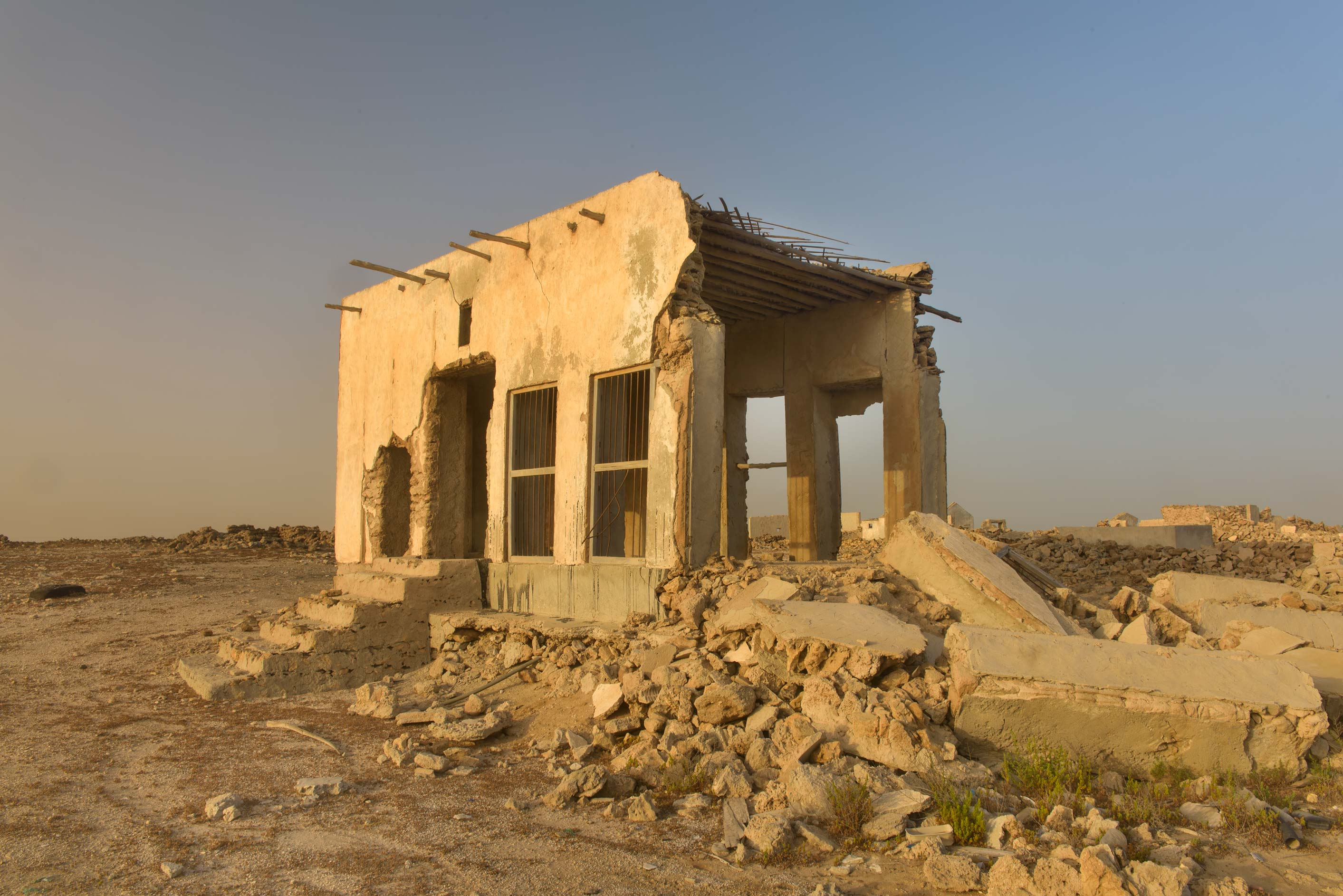 Stone house at sunrise in a village of Al Areesh (Arish). Northern Qatar