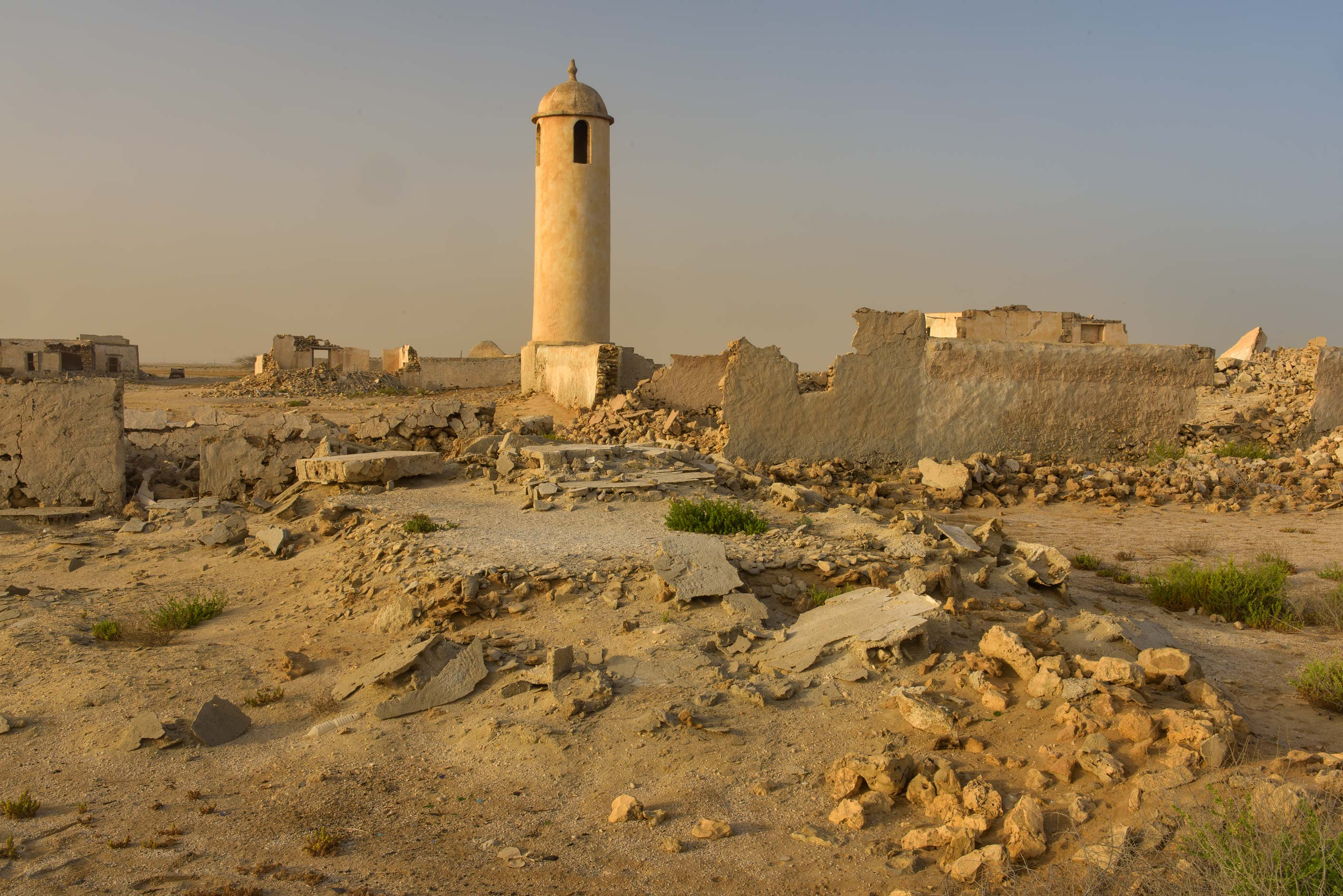 Ruins around mosque minaret in a village of Al Areesh (Arish). Northern Qatar