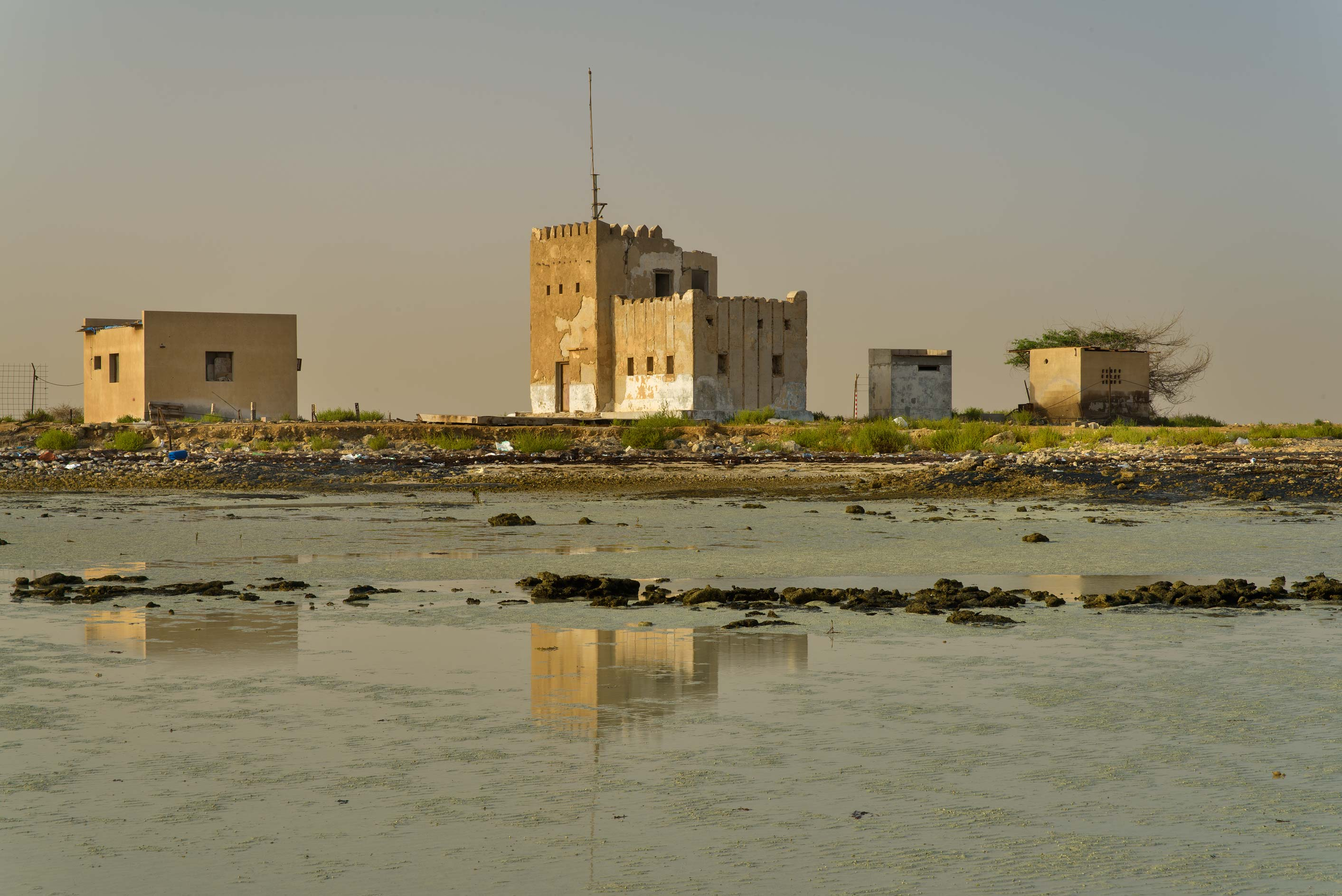 Police Station (Coast Guard) in Al Areesh (Arish), view from a beach. Northern Qatar
