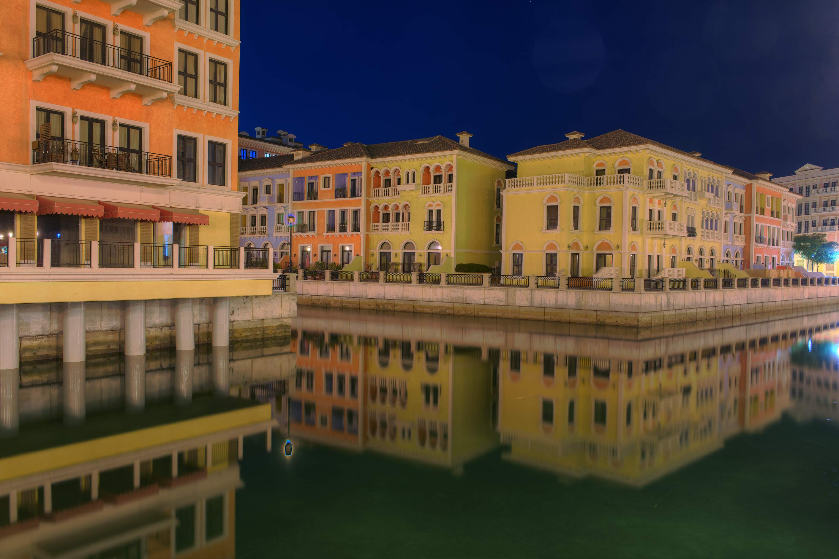 Canal junction in Qanat Quartier (Venetian style...Pearl Development Project. Doha, Qatar