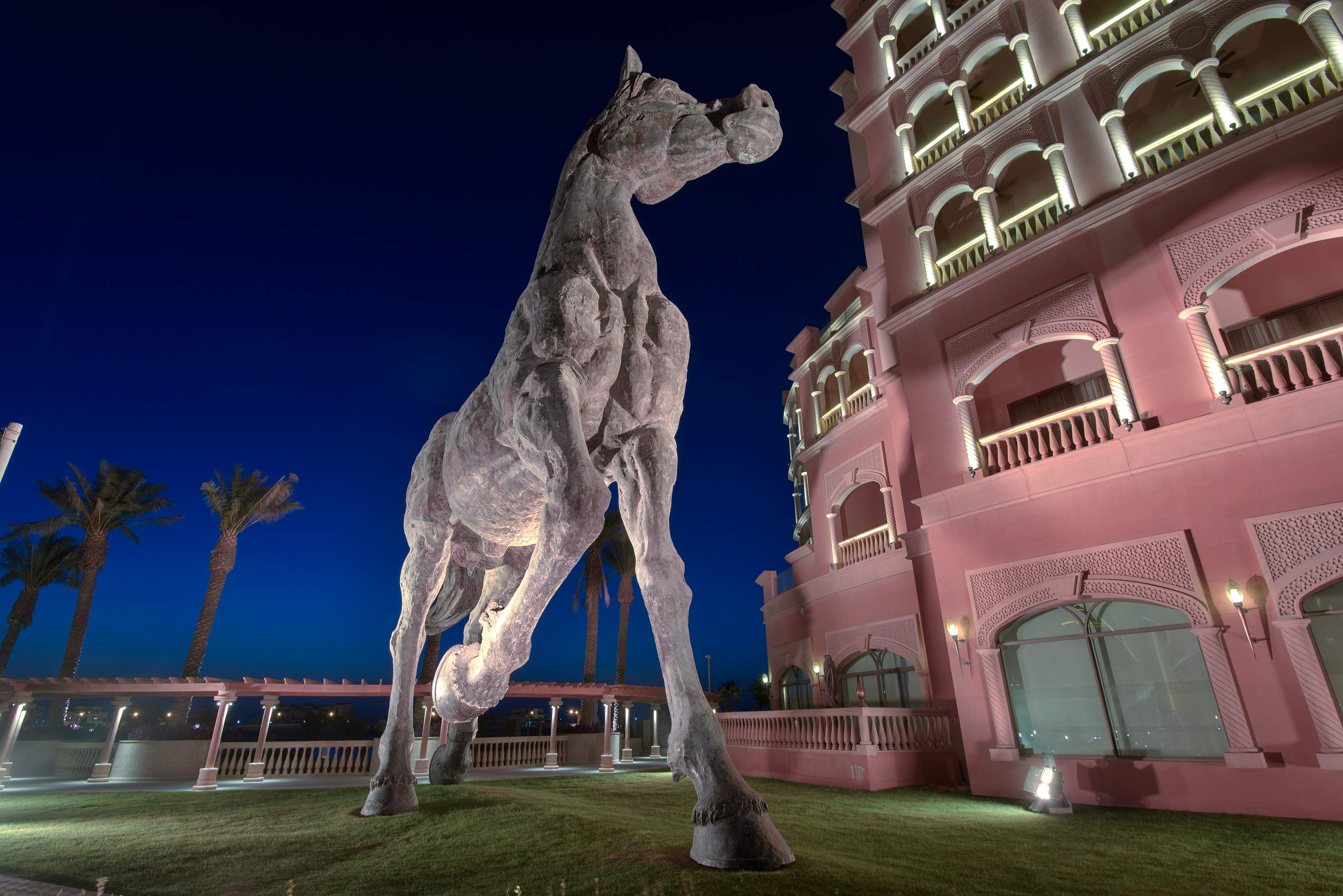 Giant 18 m tall bronze sculpture of a horse by...Pearl Development Project. Doha, Qatar