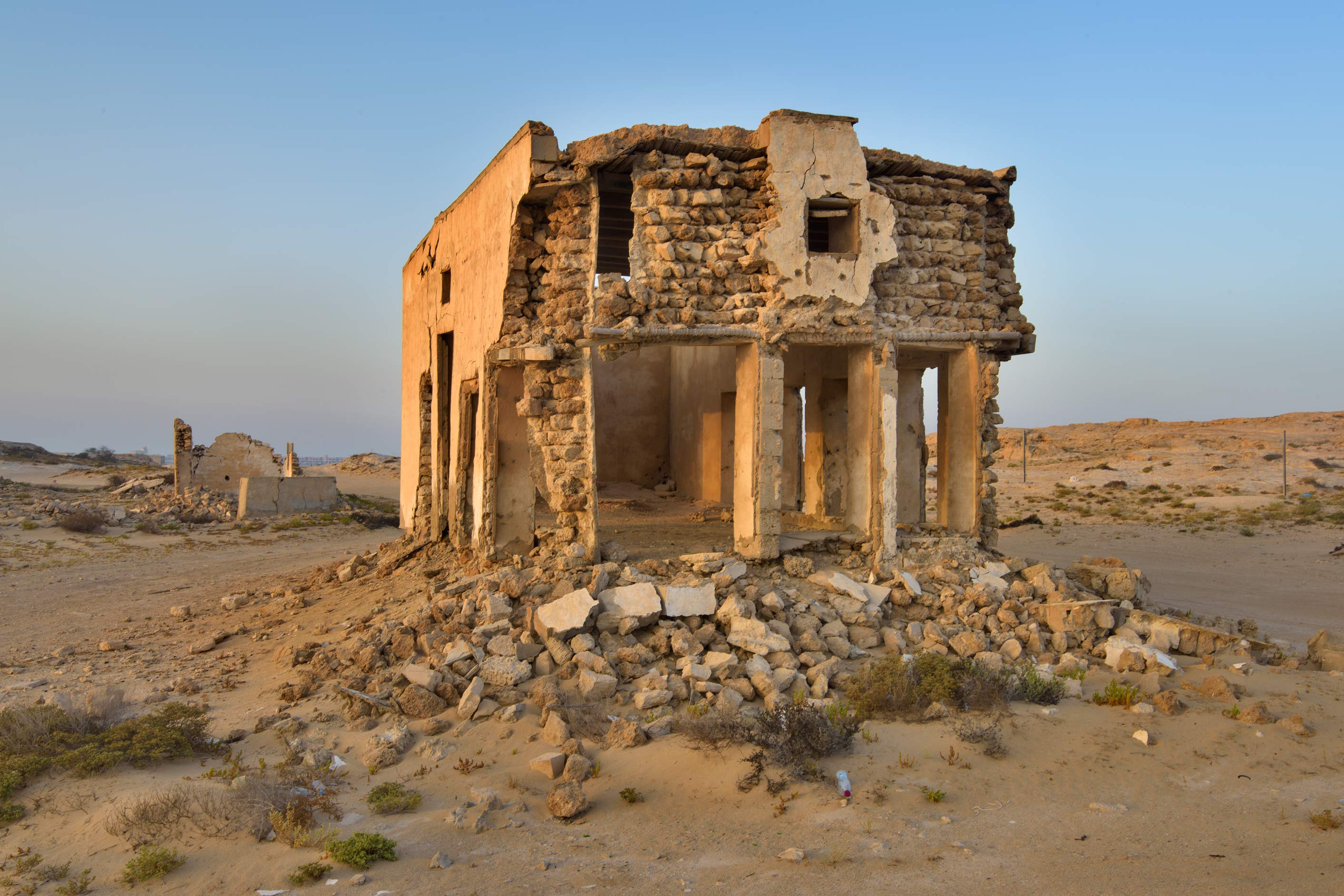 Big house at sunrise in northern side in old...eastern coast, Ash Shamal area. Qatar