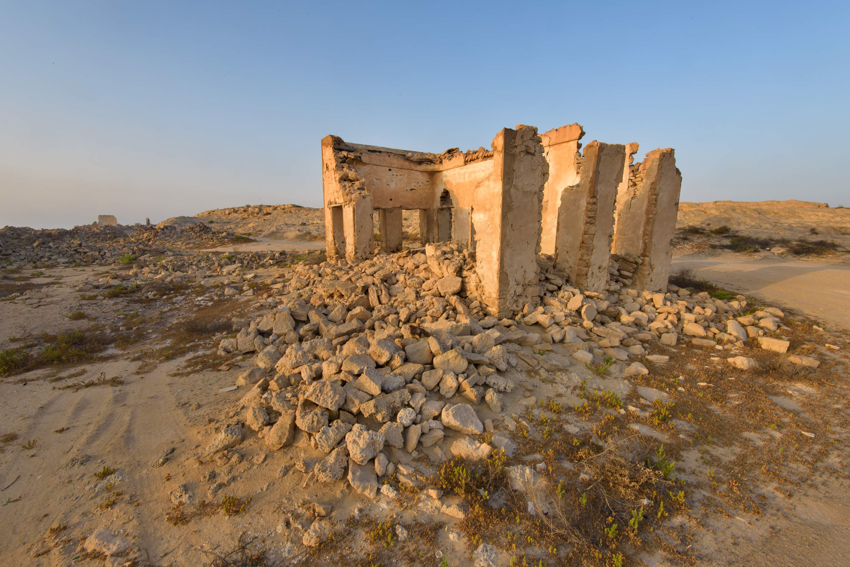 Ruins in old fishing village (ghost town) of Al...eastern coast, Ash Shamal area. Qatar