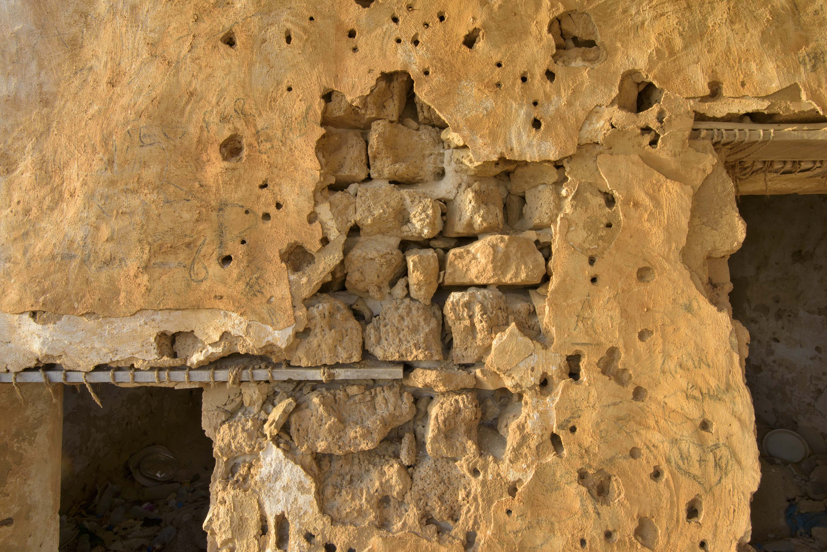 Masonry in old fishing village (ghost town) of Al...eastern coast, Ash Shamal area. Qatar