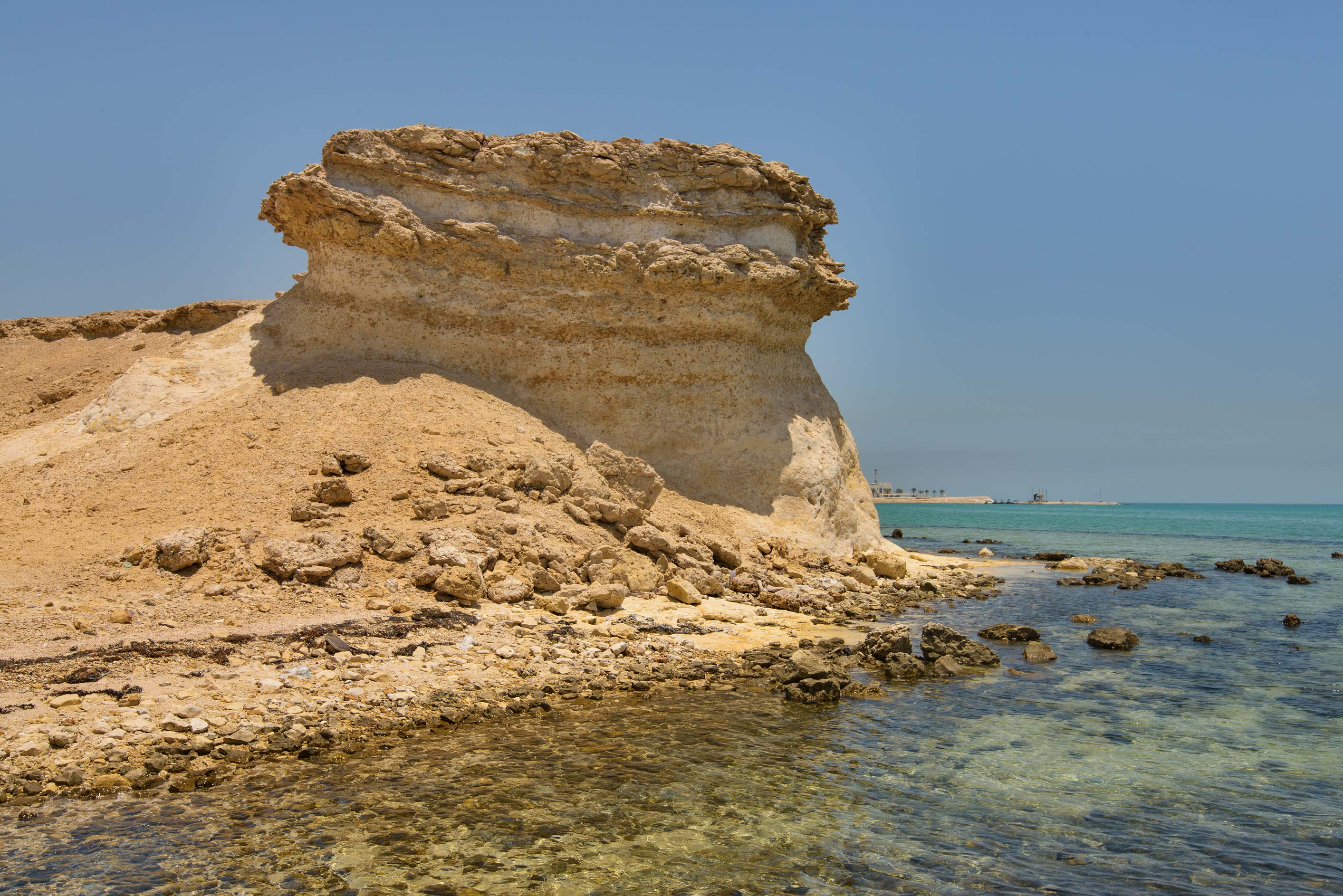 Sandstone cliffs in northern part of Ras Abrouq Peninsula, north from Zekreet. Qatar