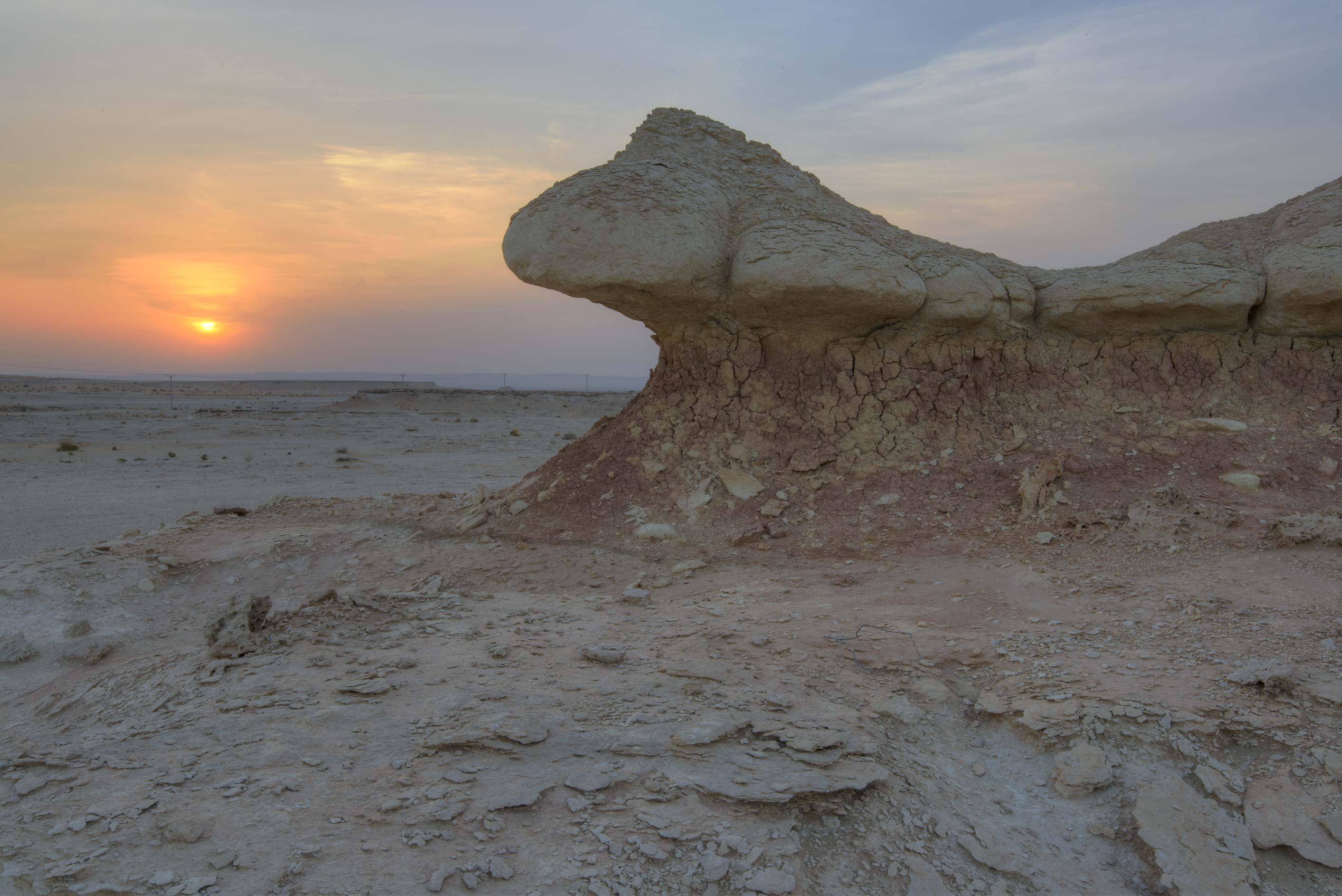 Wind erosion of limestone cliffs in Maszhabiya...Reserve near Abu Samra. Southern Qatar