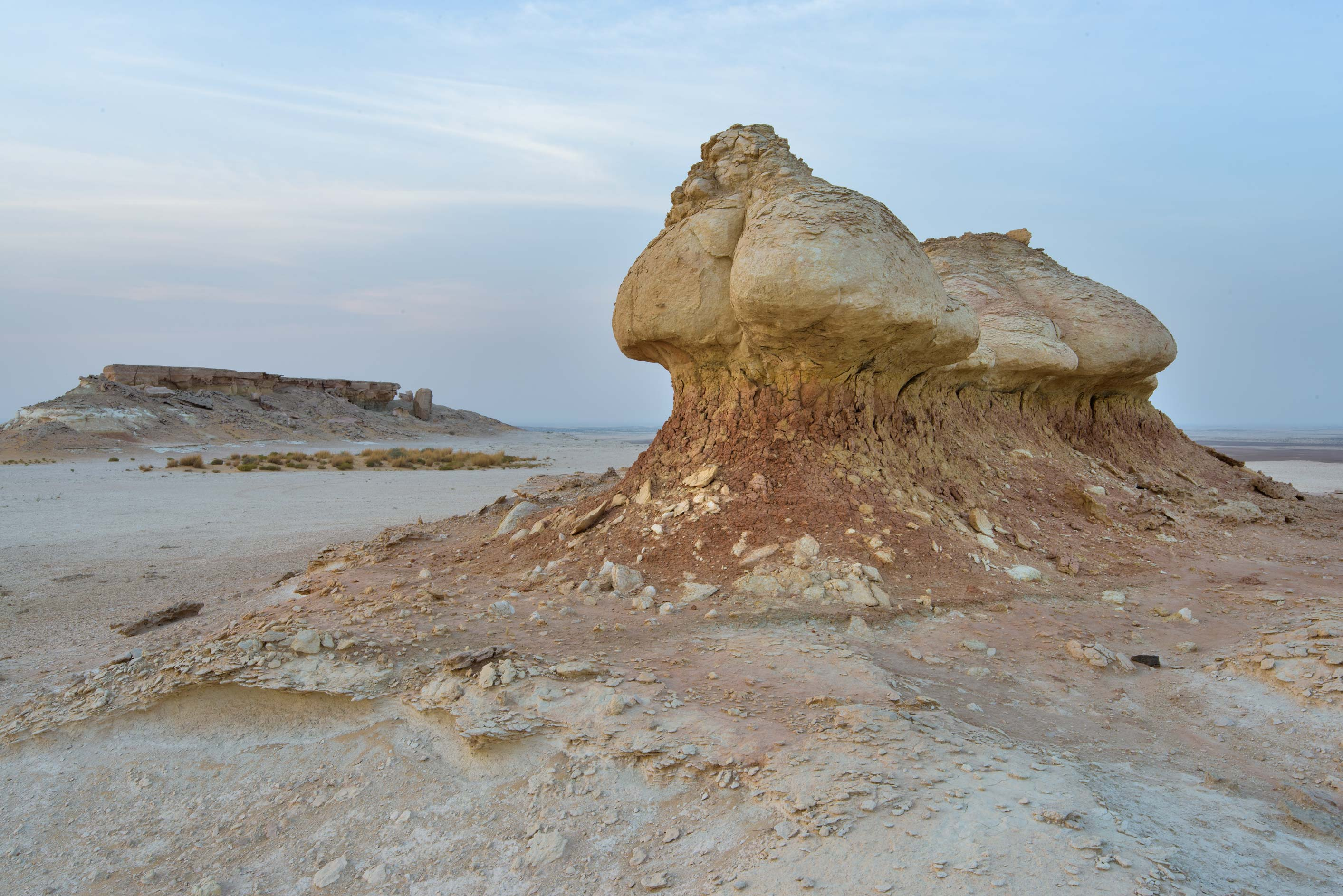Rock formation on a tabletop hill in Maszhabiya...Reserve near Abu Samra. Southern Qatar
