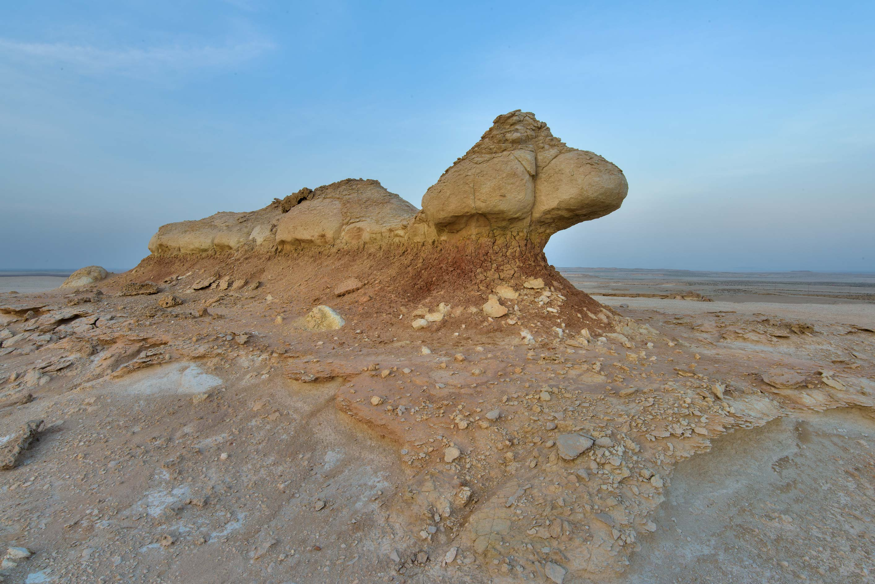 Limestone form on a plateau of a tabletop...Reserve near Abu Samra. Southern Qatar