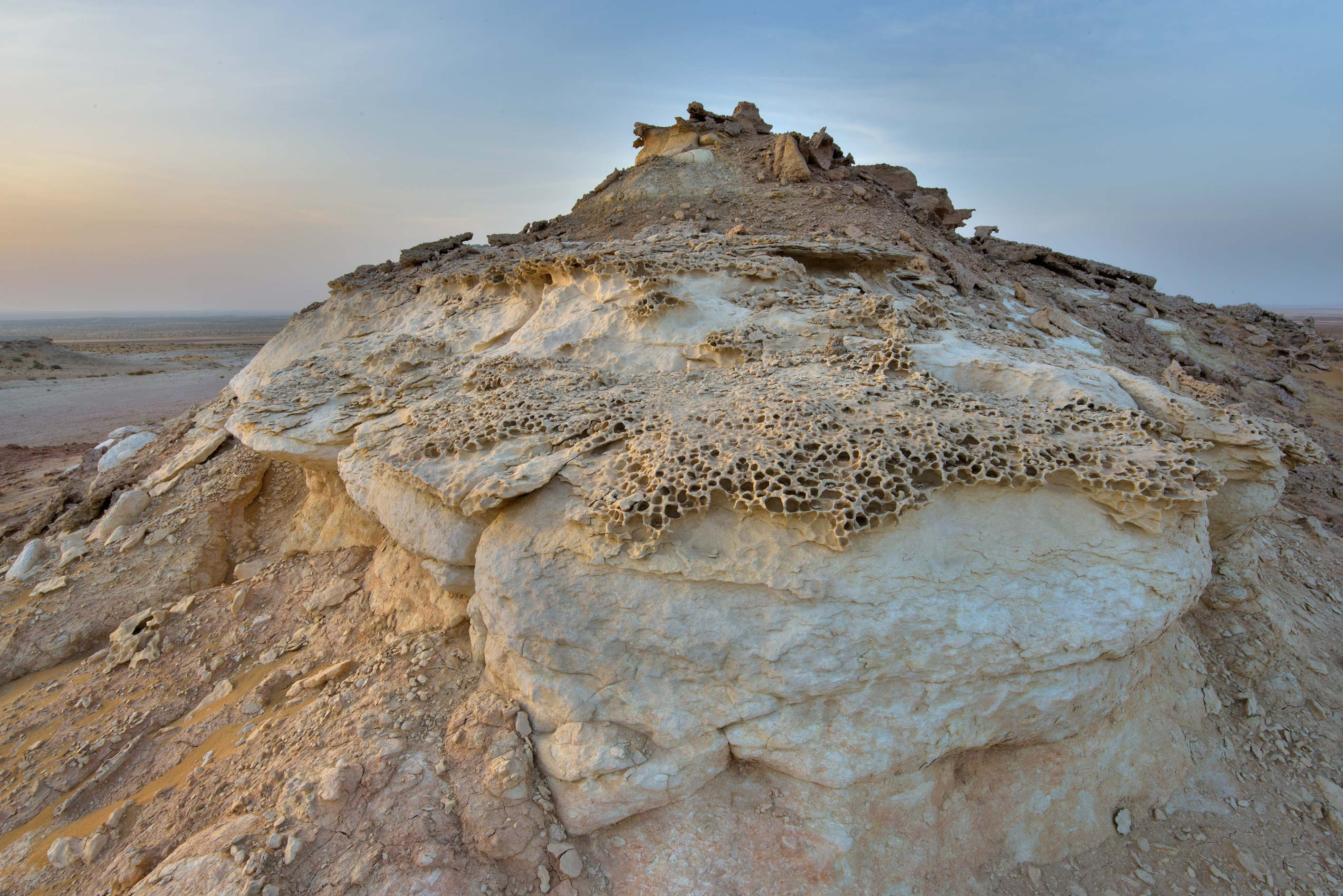 Aerodynamically eroded rocks on a tabletop...Reserve near Abu Samra. Southern Qatar