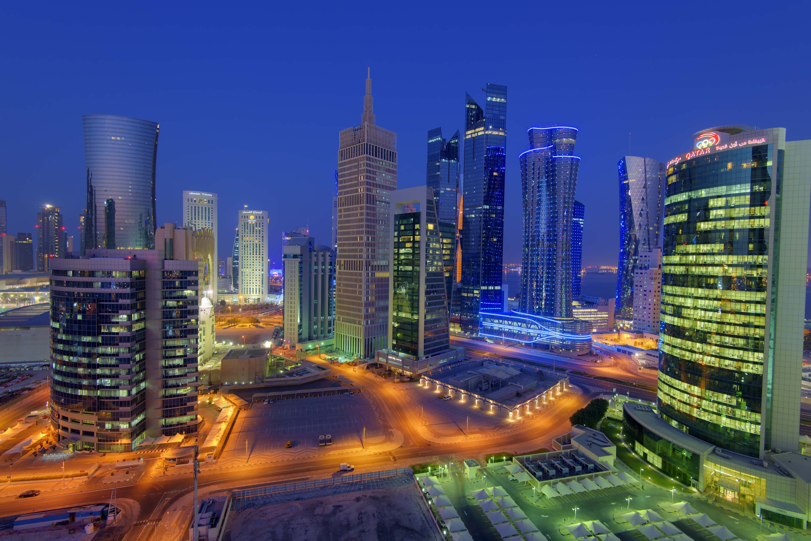 Evening view of West Bay towers from a balcony of...apartment in Dareen Tower. Doha, Qatar