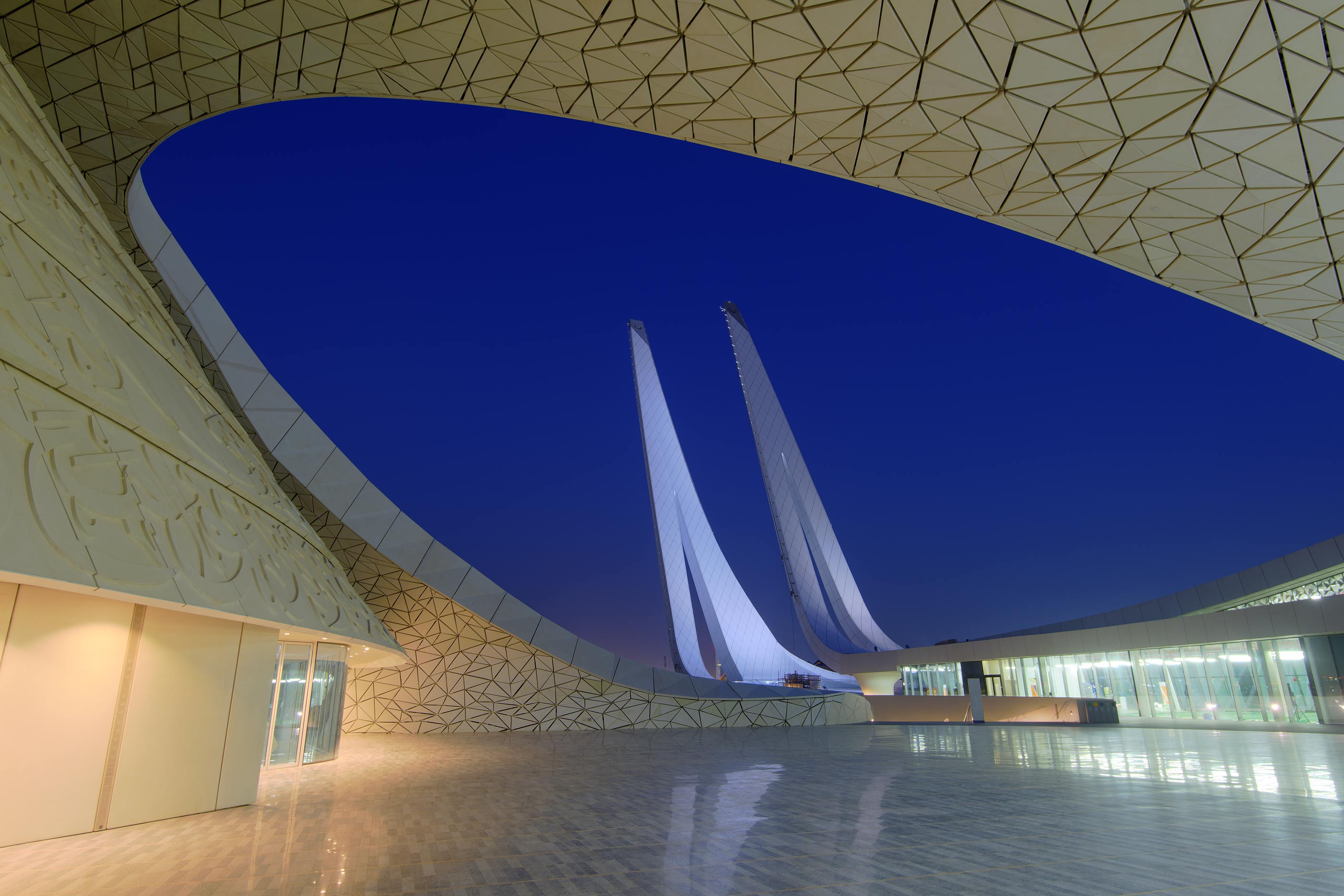 Entrance of first floor courtyard of Education City Mosque. Doha, Qatar