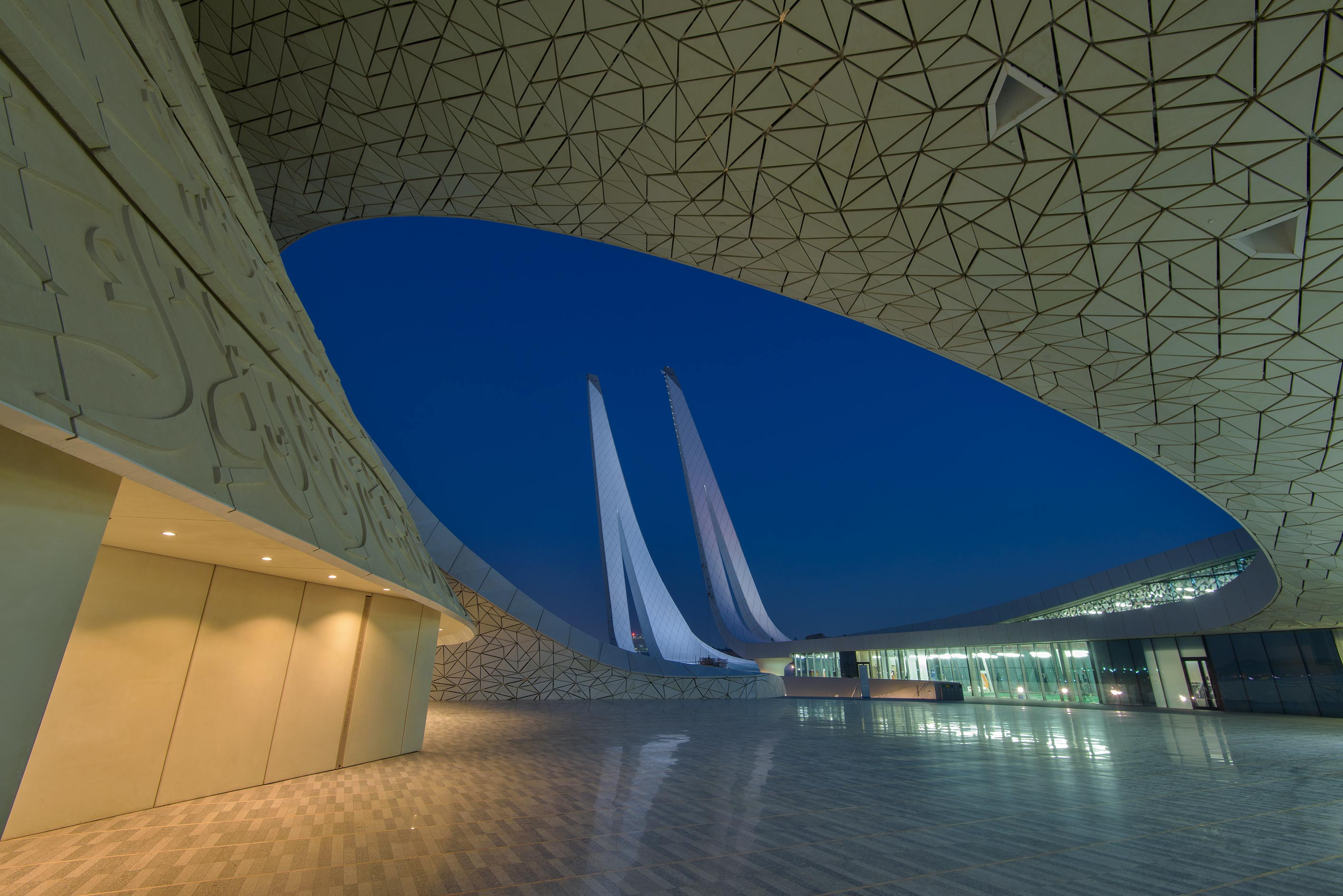 Oval courtyard of Education City Mosque. Doha, Qatar