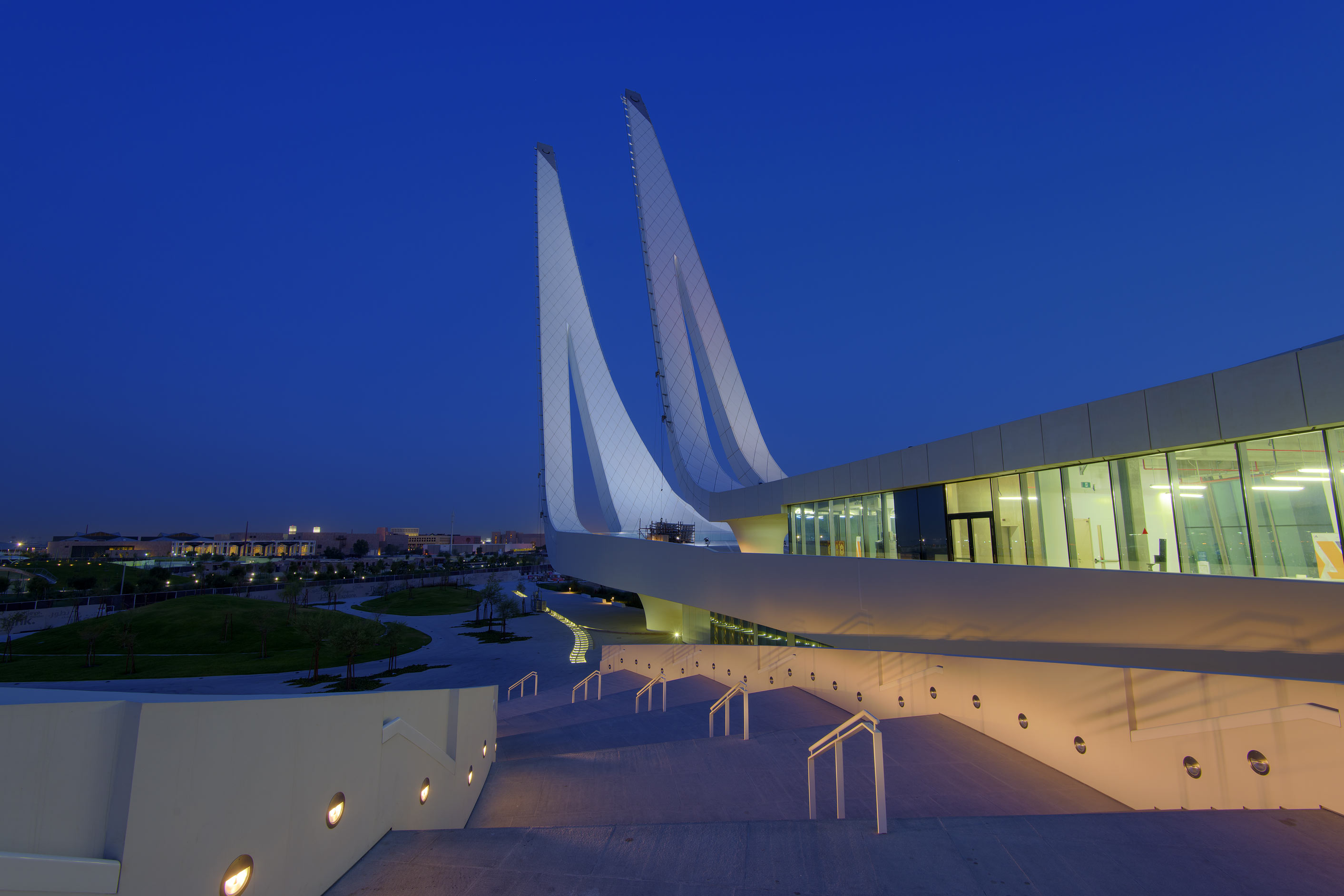 Grand staircase of Education City Mosque. Doha, Qatar