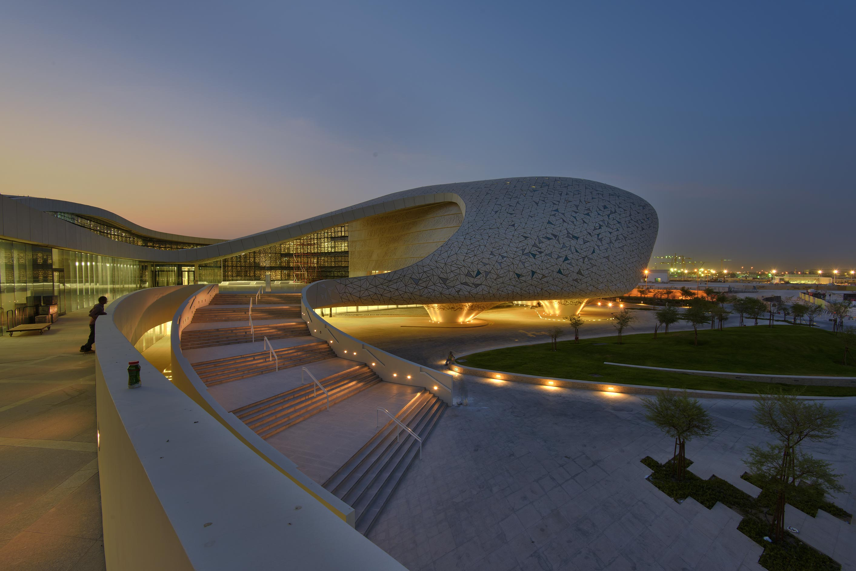 Grand staircase and cavernous building from the...of Education City Mosque. Doha, Qatar