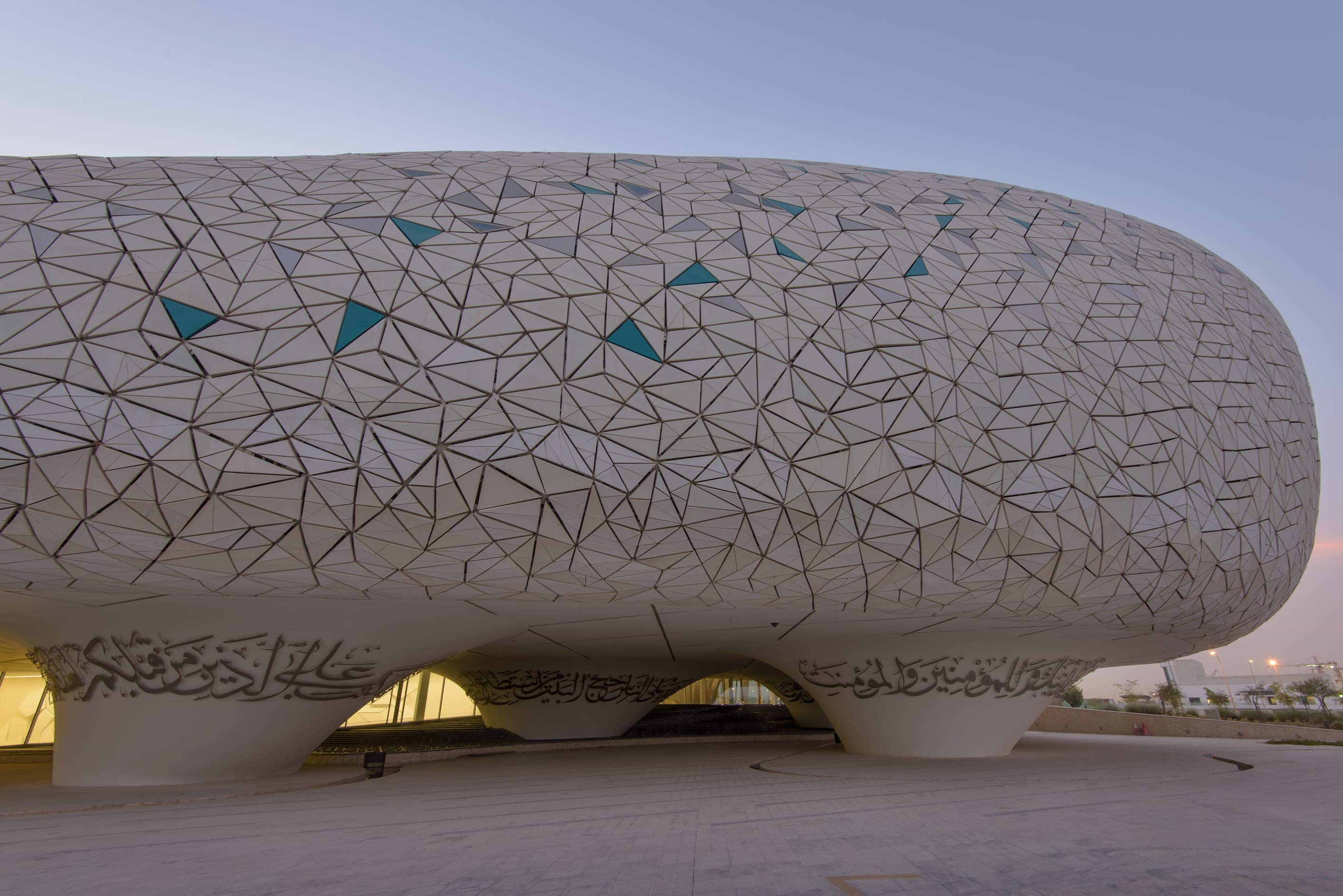 Prayer hall decorated by geometric patterns of Education City Mosque. Doha, Qatar