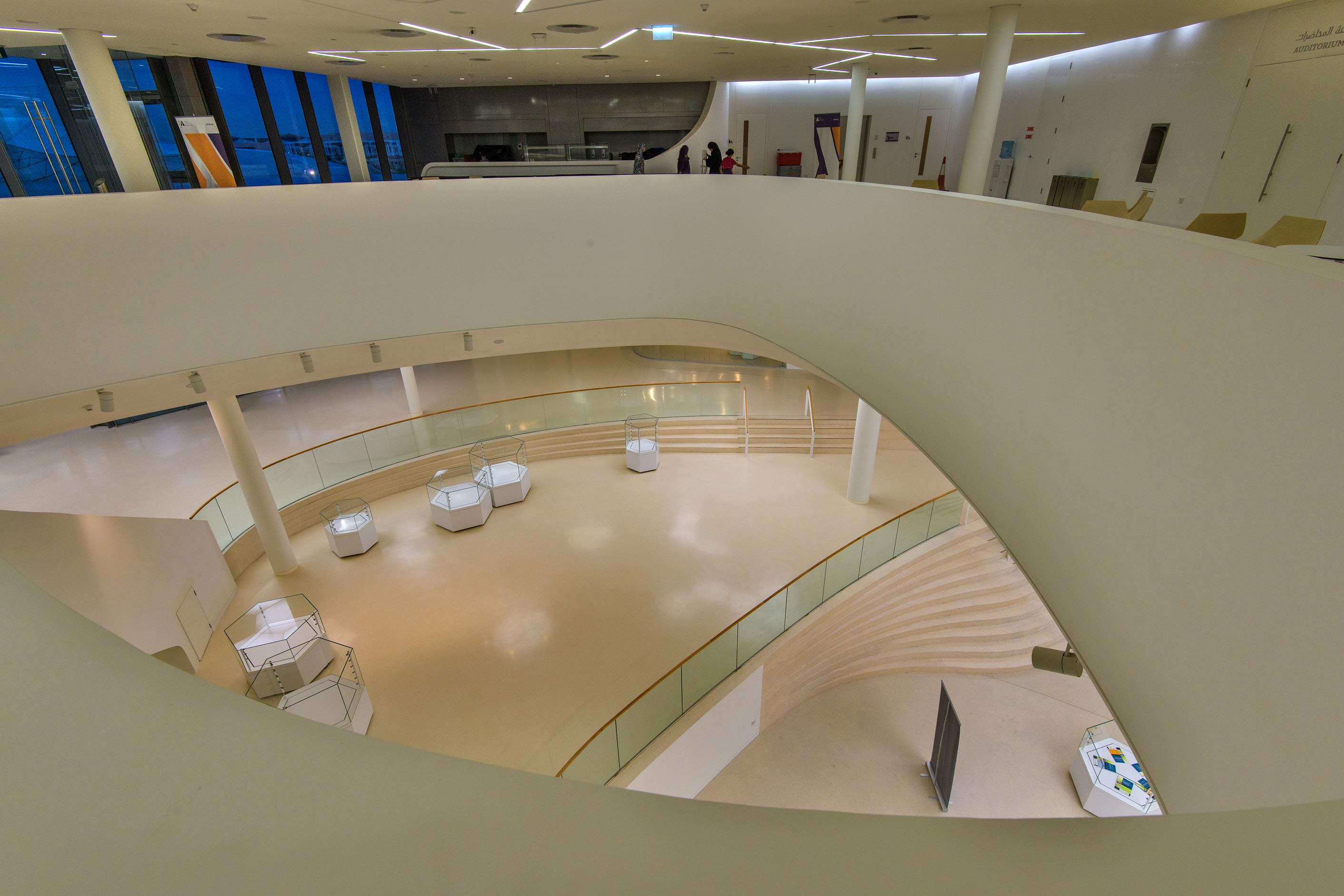 View from the first floor inside Education City Mosque. Doha, Qatar