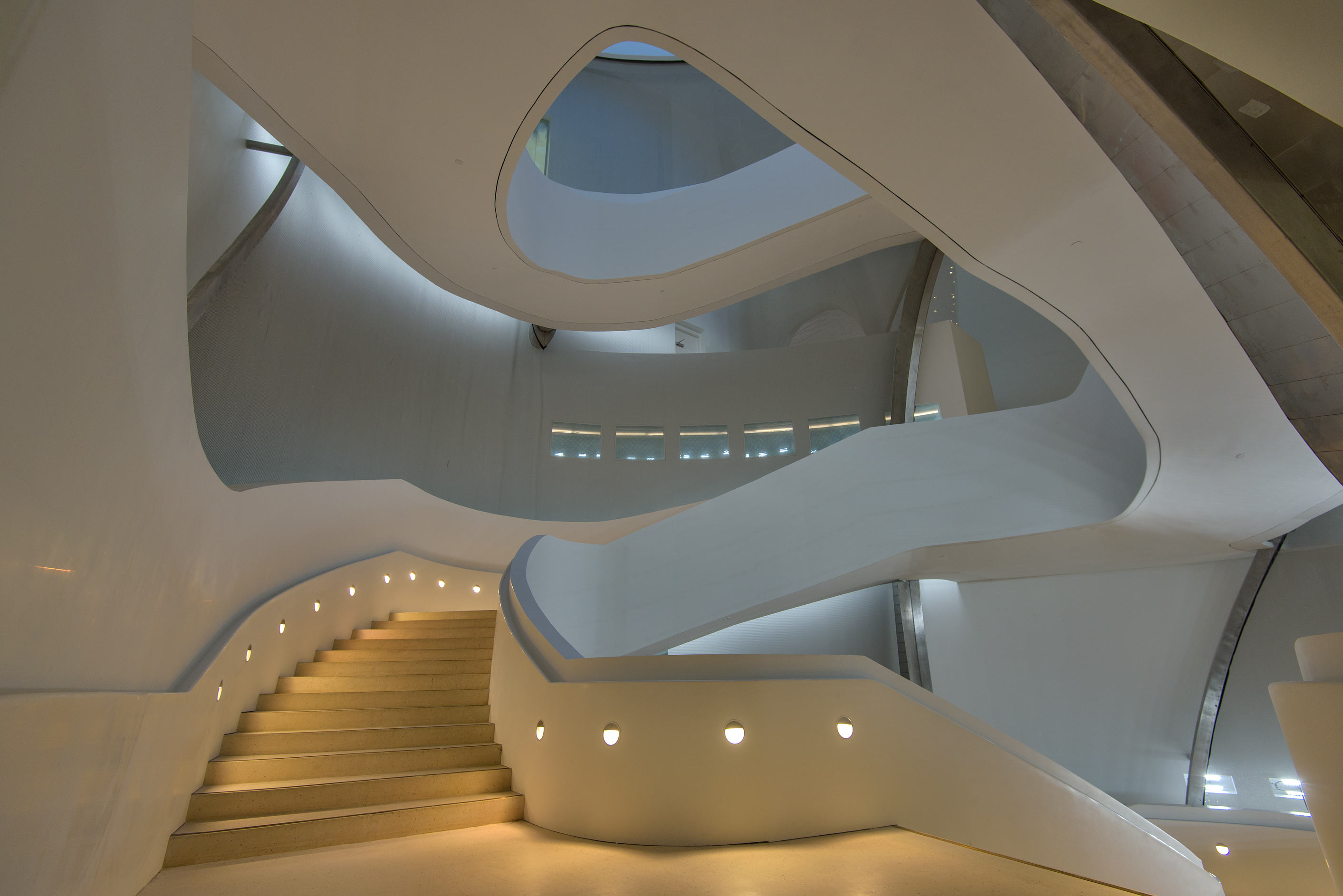 Fancy curved staircase inside Education City Mosque. Doha, Qatar