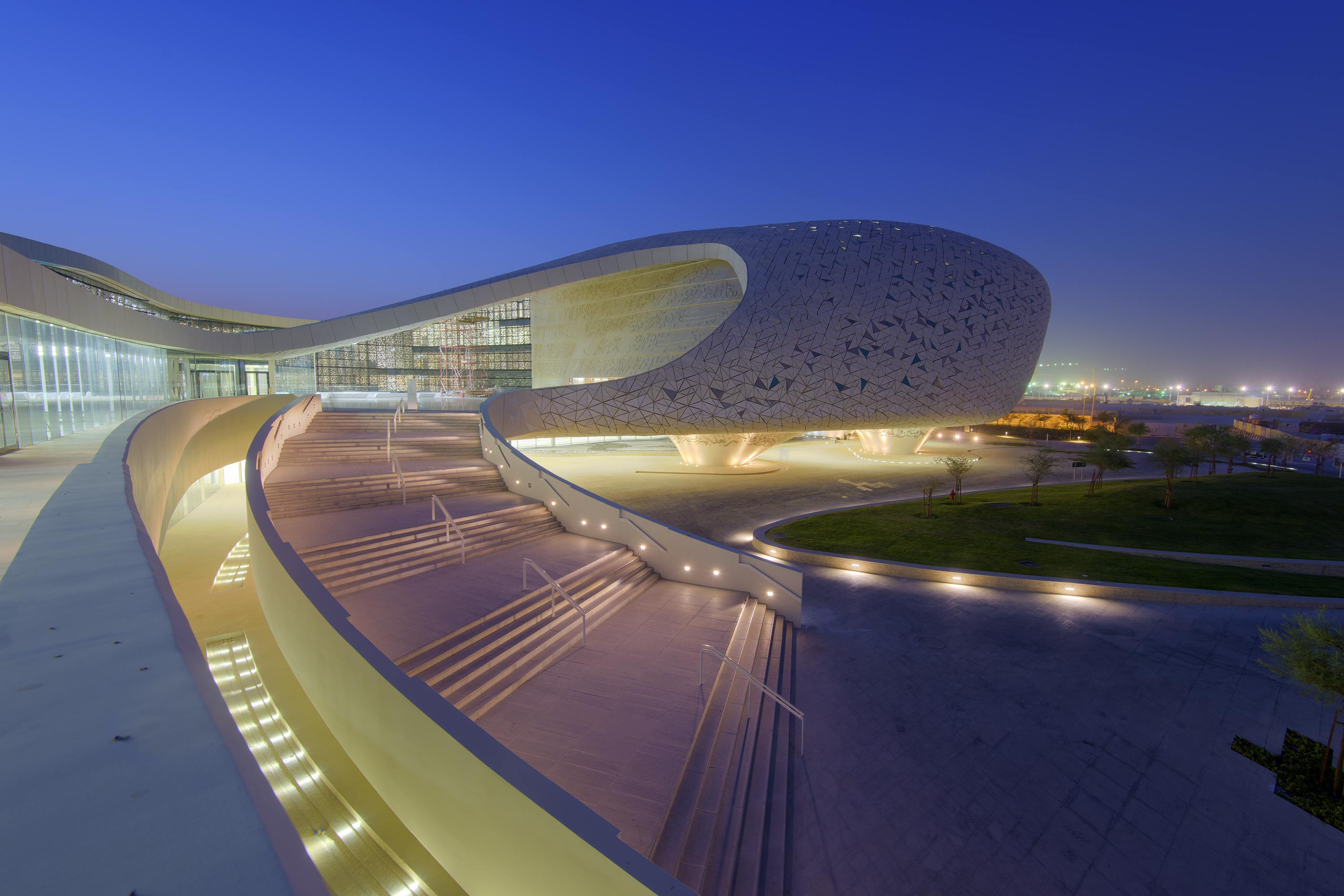 Cavernous structure and staircase of Education City Mosque. Doha, Qatar