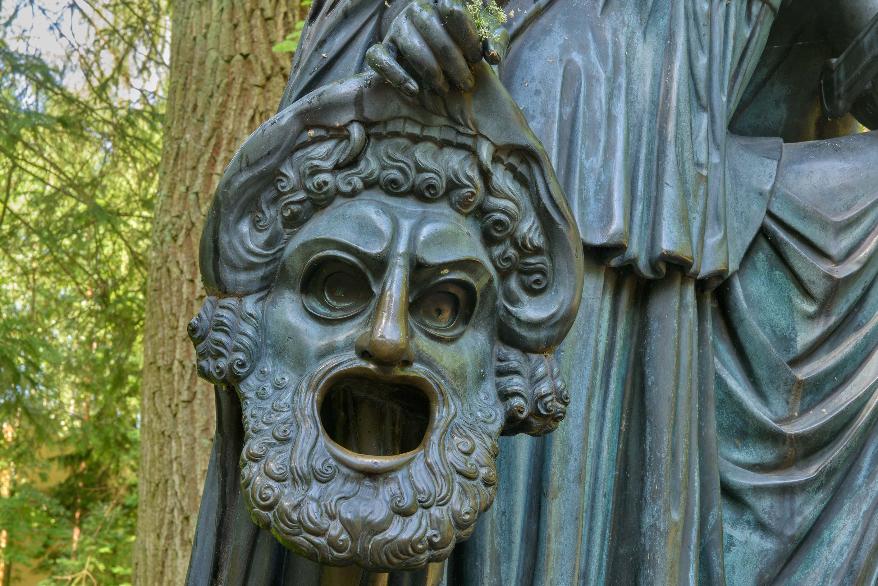 Mask of Sculpture of a Greek muse Melpomene on...a suburb of St.Petersburg, Russia