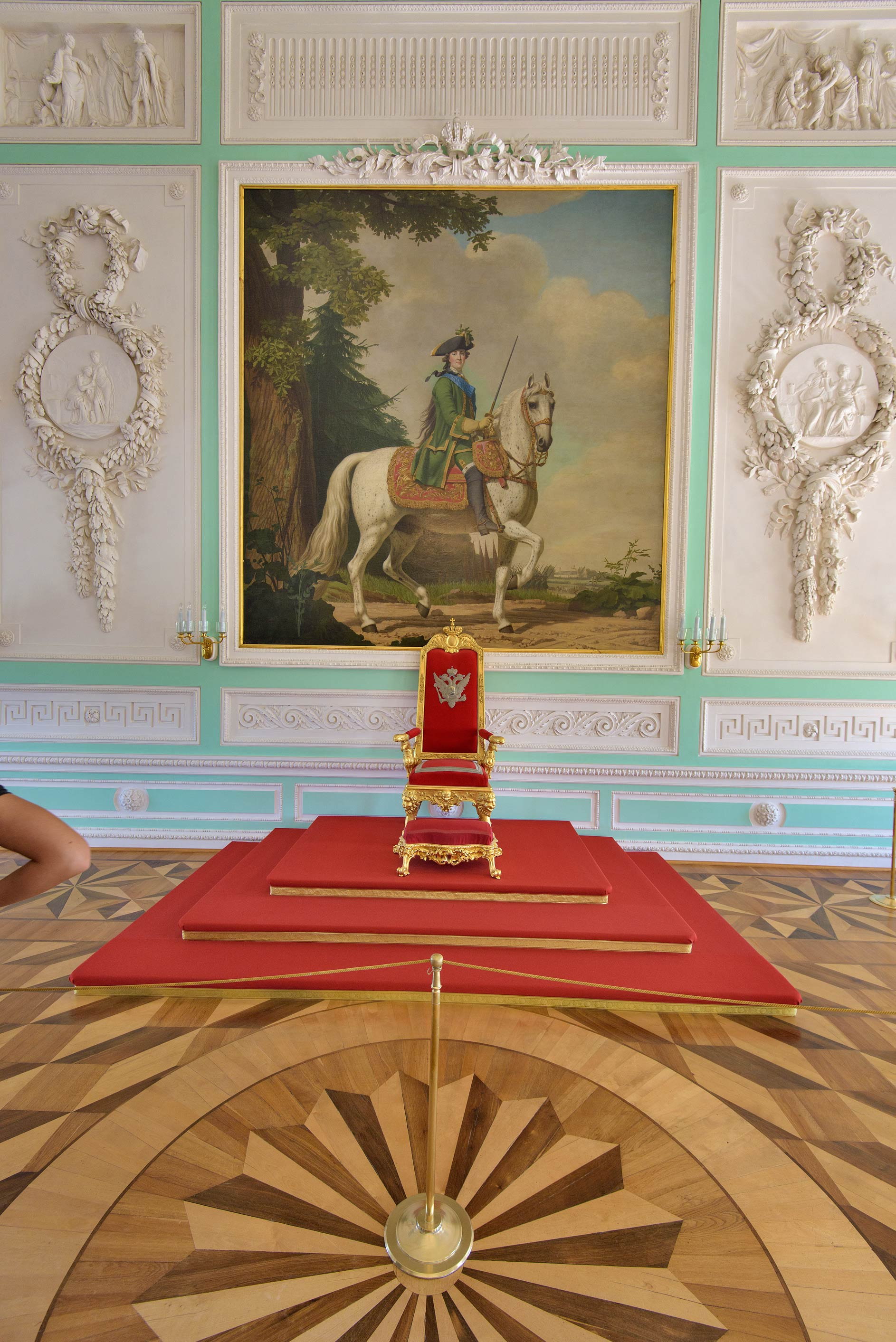 Throne hall in Grand Palace. Peterhof, a suburb of St.Petersburg, Russia