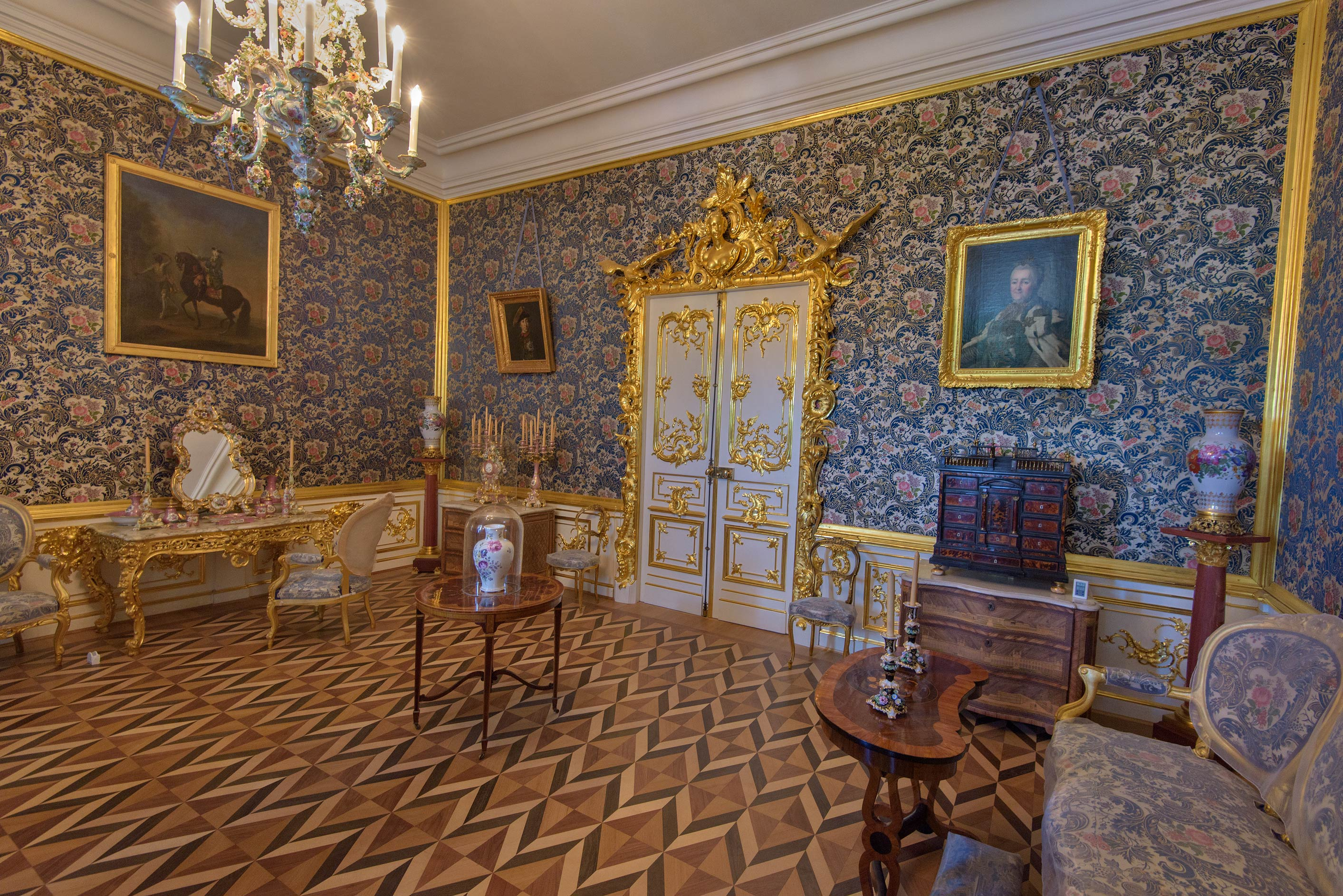 A decorated room in Grand Palace. Peterhof, a suburb of St.Petersburg, Russia