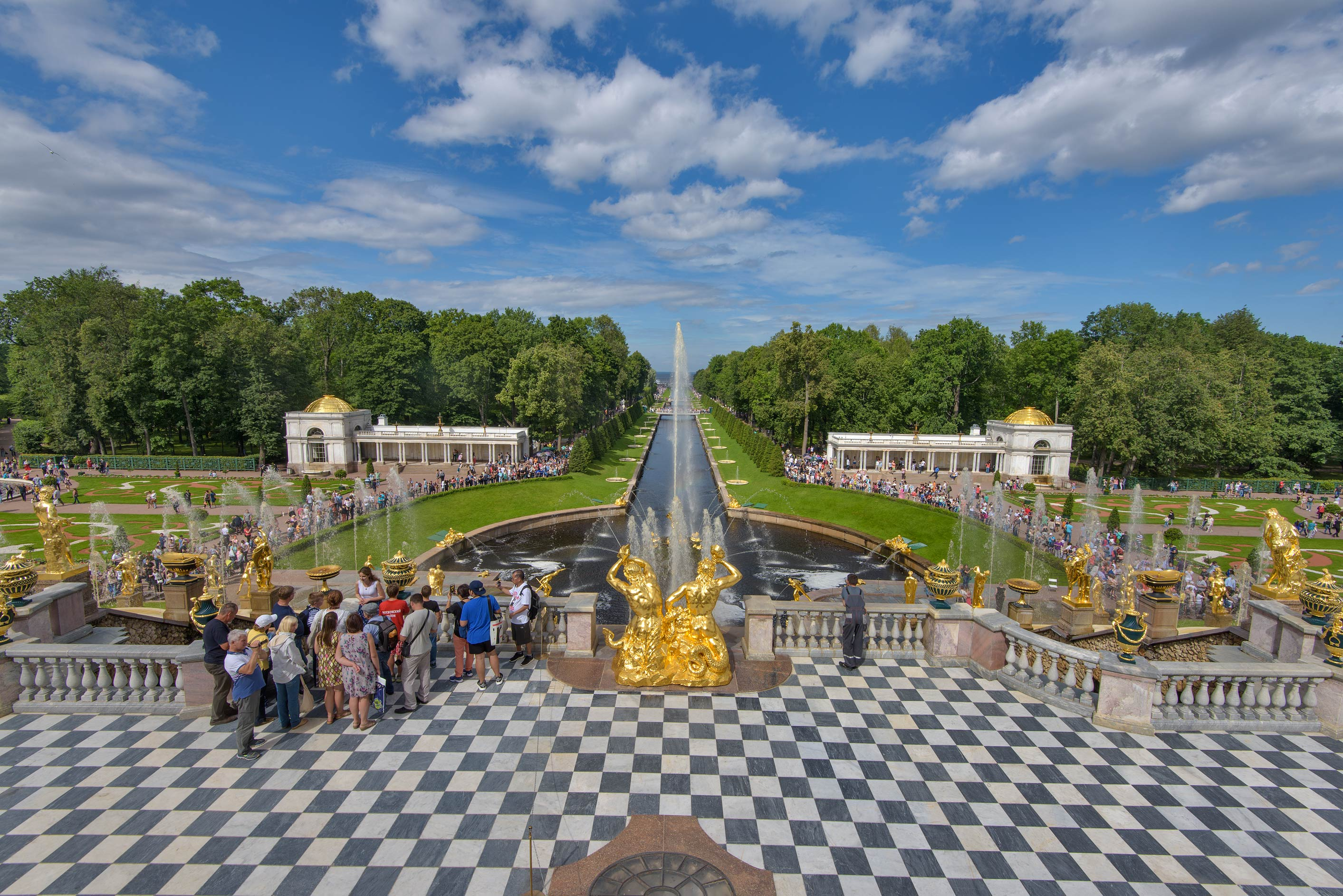 View of Grand Cascade from upper terrace. Peterhof, a suburb of St.Petersburg, Russia