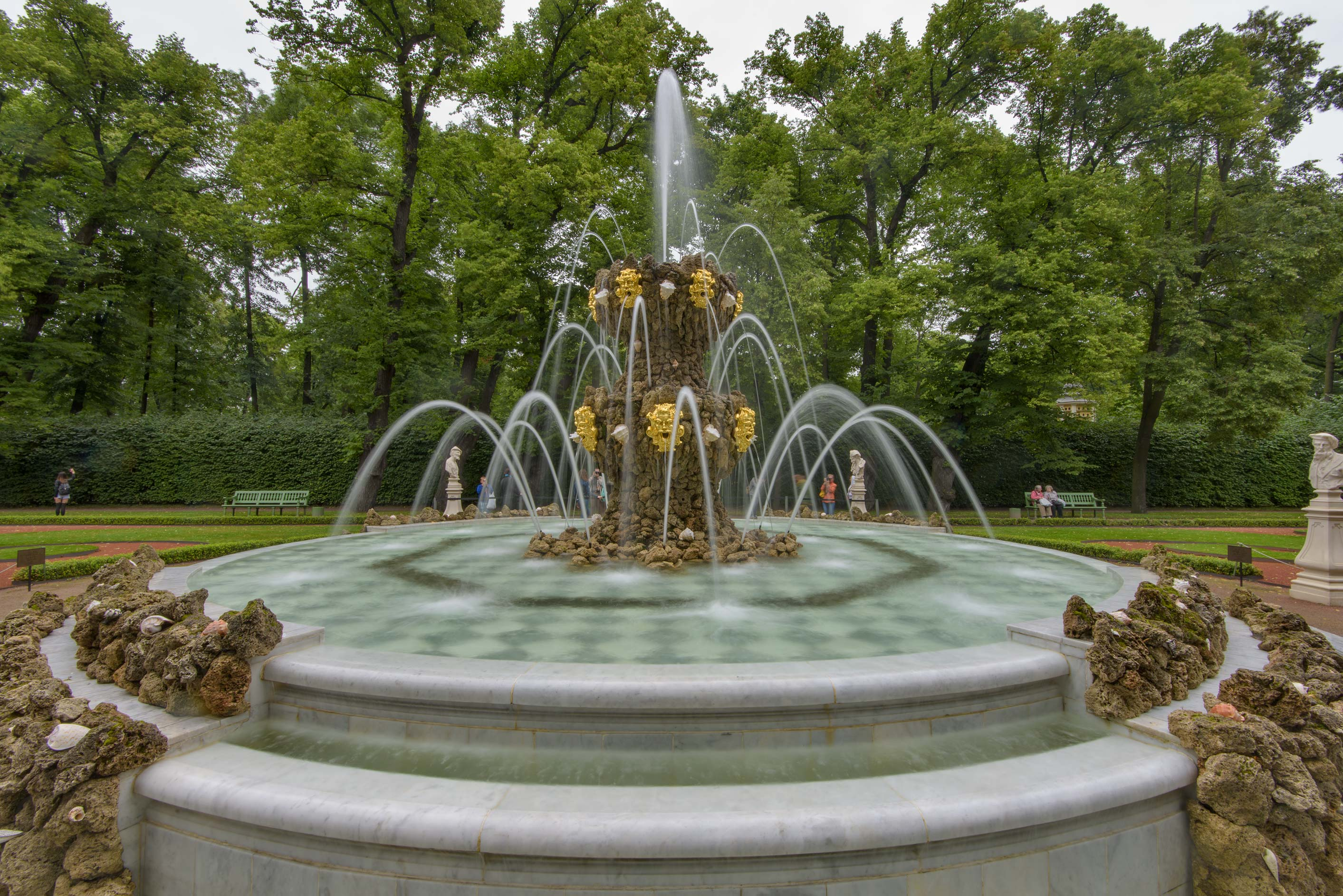 Crowning Fountain at Grand Parterre in Letny Sad (Summer Garden). St.Petersburg, Russia