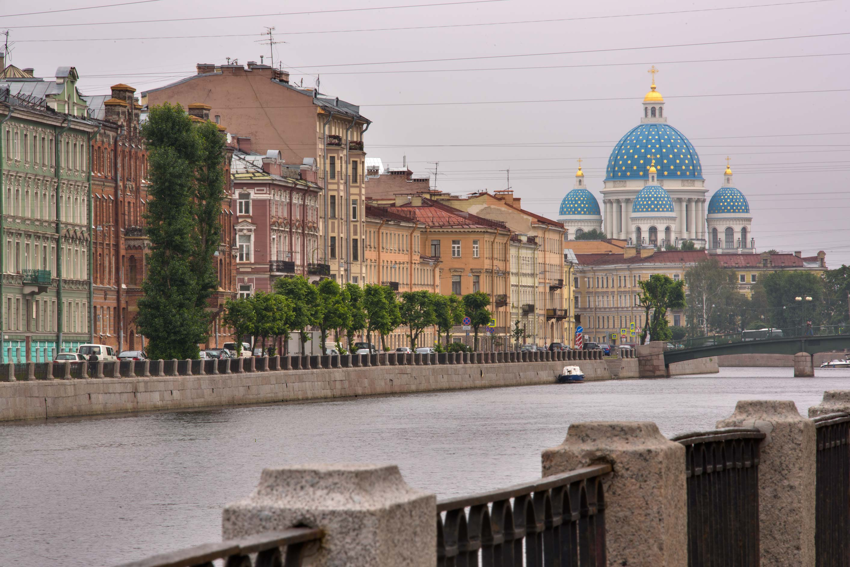 View of Fontanka River and Trinity Cathedral. St.Petersburg, Russia