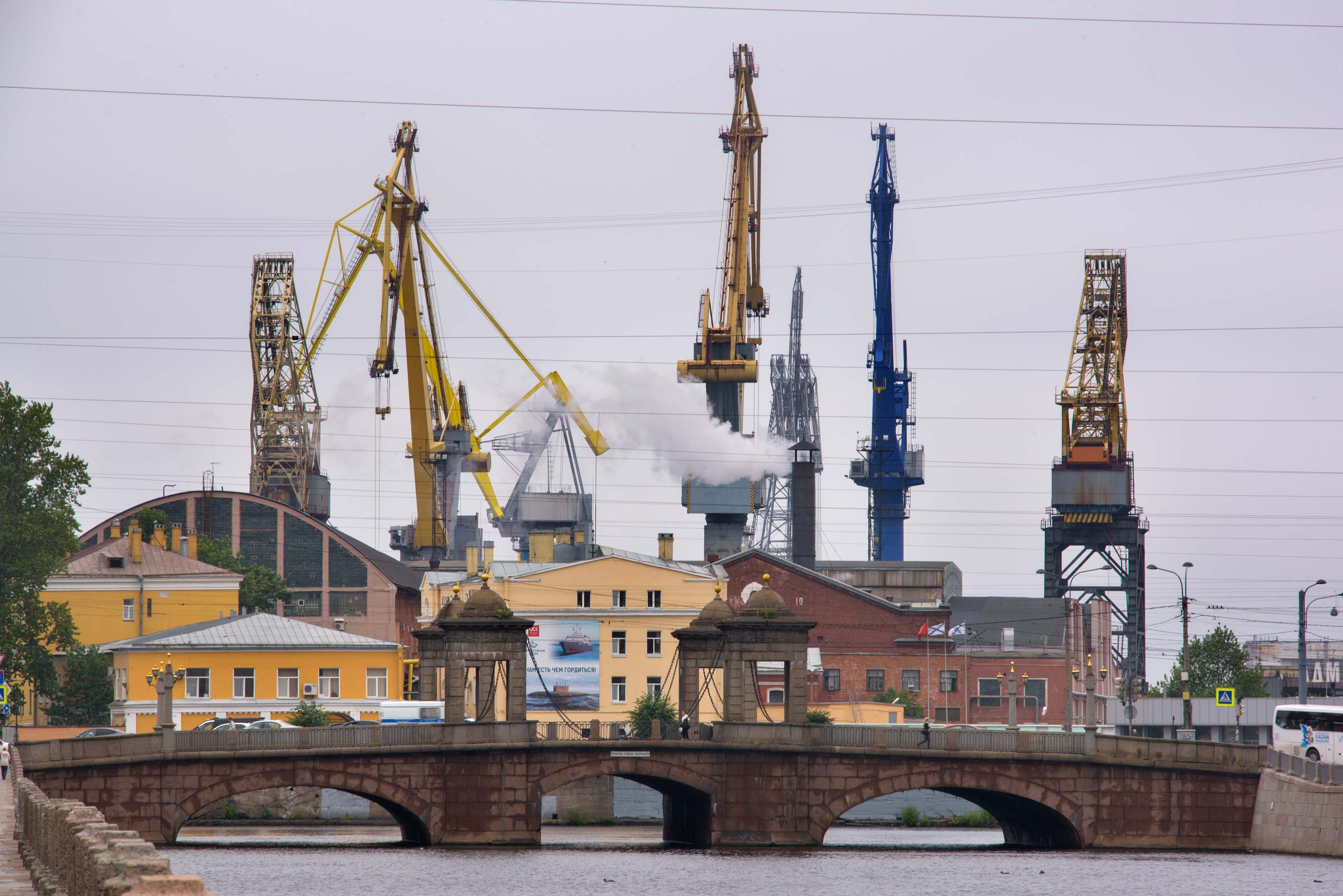 Sea port from Fontanka River. St.Petersburg, Russia
