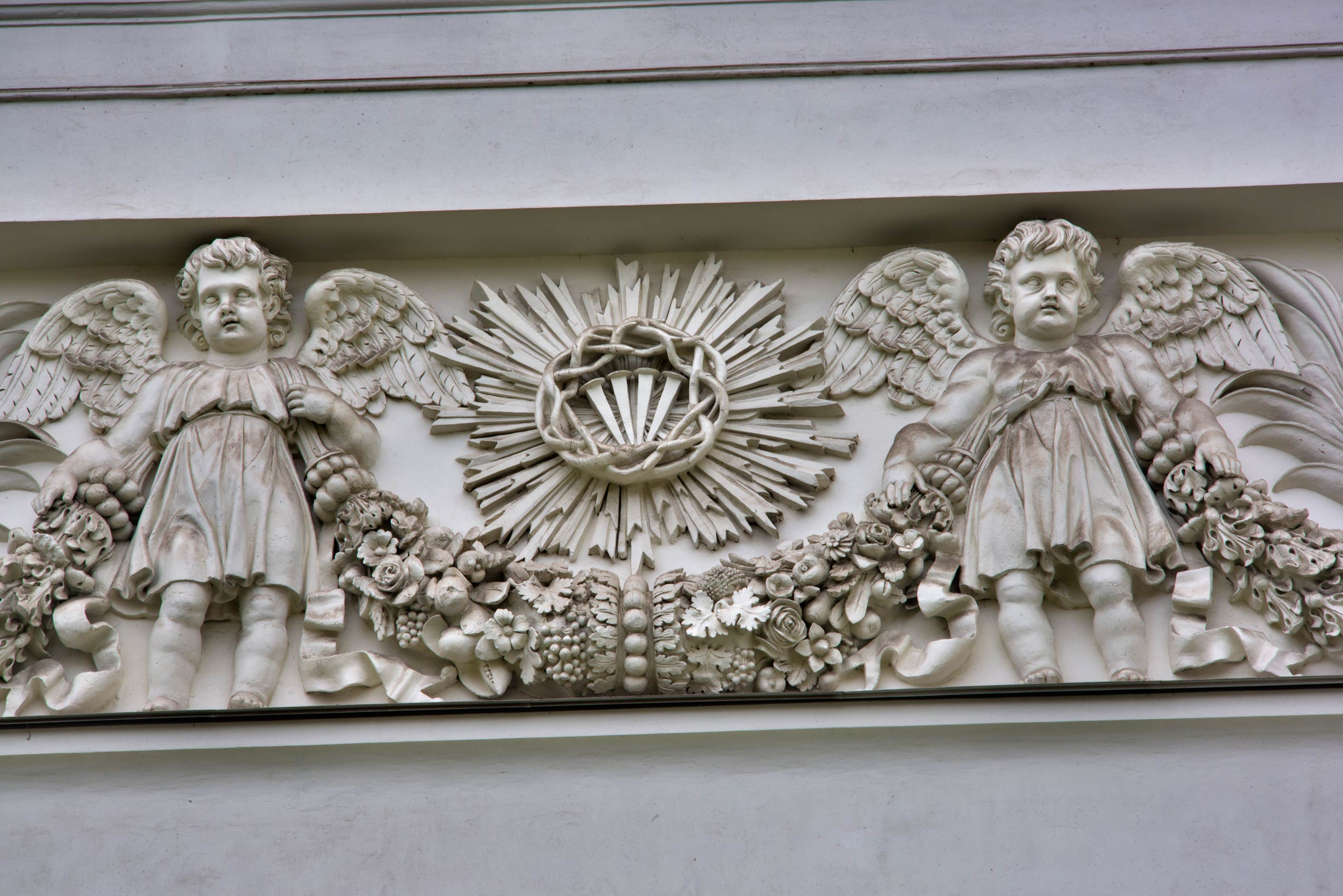 Dusty angels of Troitse-Izmaylovsky Cathedral. St.Petersburg, Russia