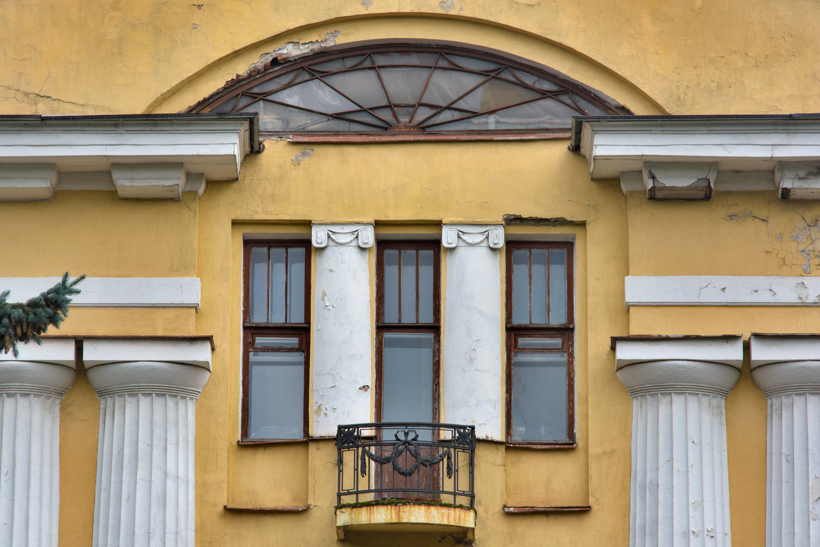Balcony of herbarium and library building in...Institute. St.Petersburg, Russia