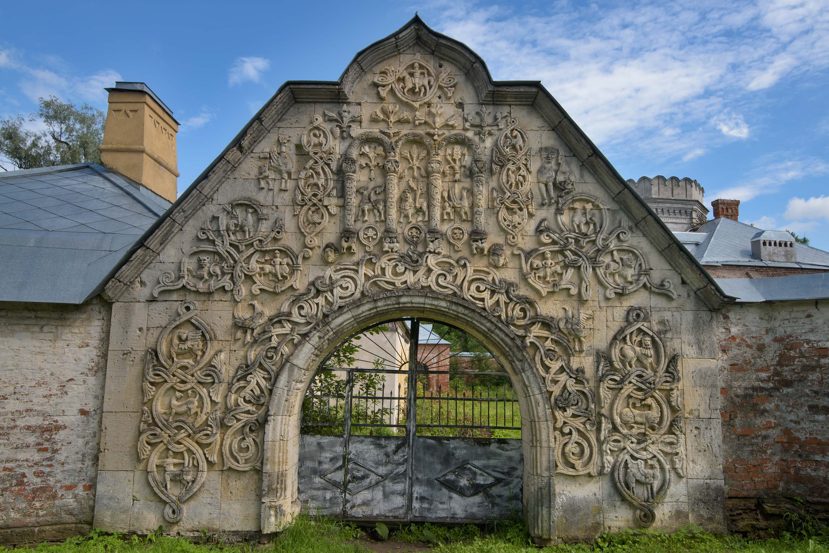 White-stone Gate of Fiodorovskiy Gorodok in Pushkin, suburb of St.Petersburg. Russia