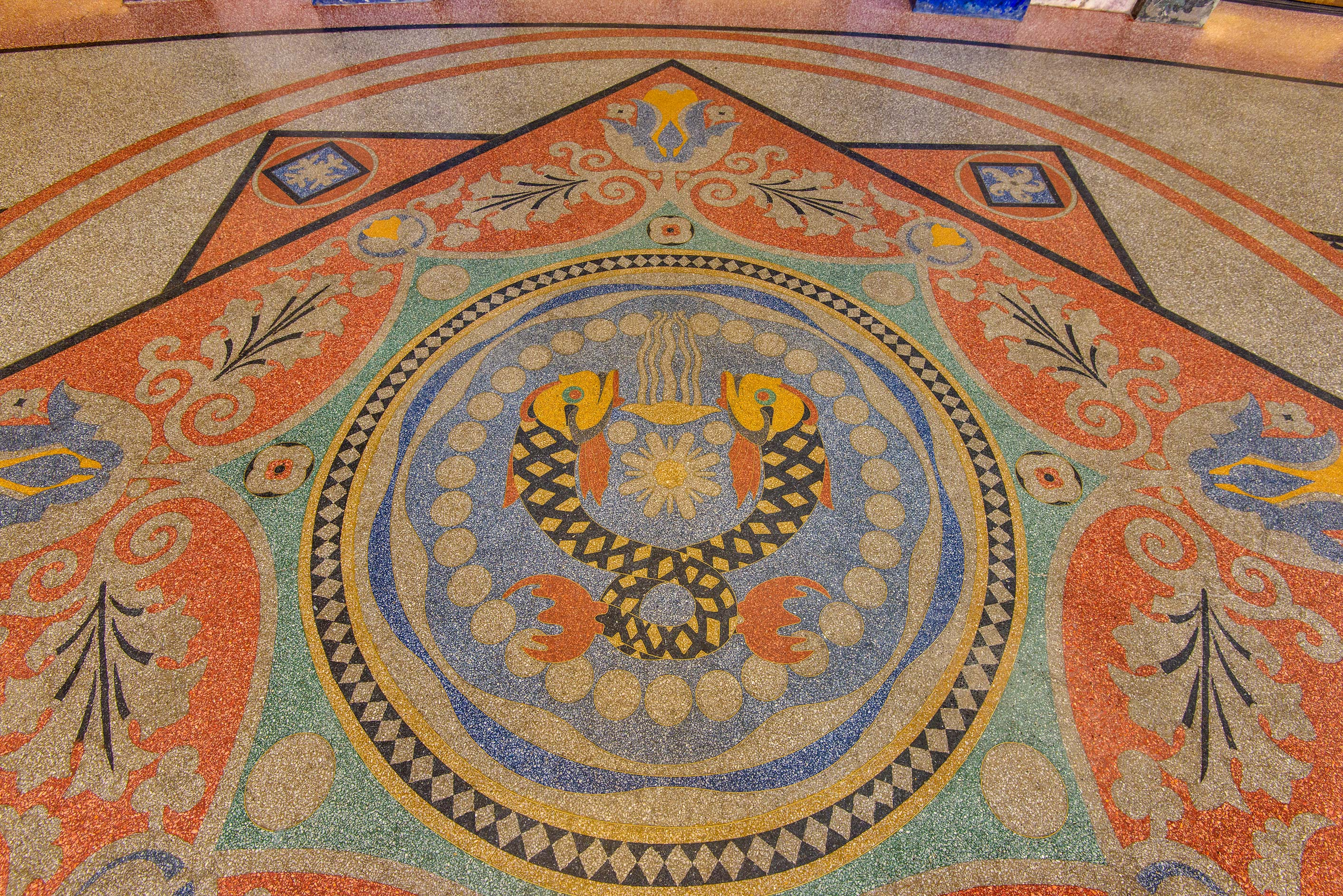 Sea motifs on the floor of Naval Cathedral of St...in Kronstadt. St.Petersburg, Russia