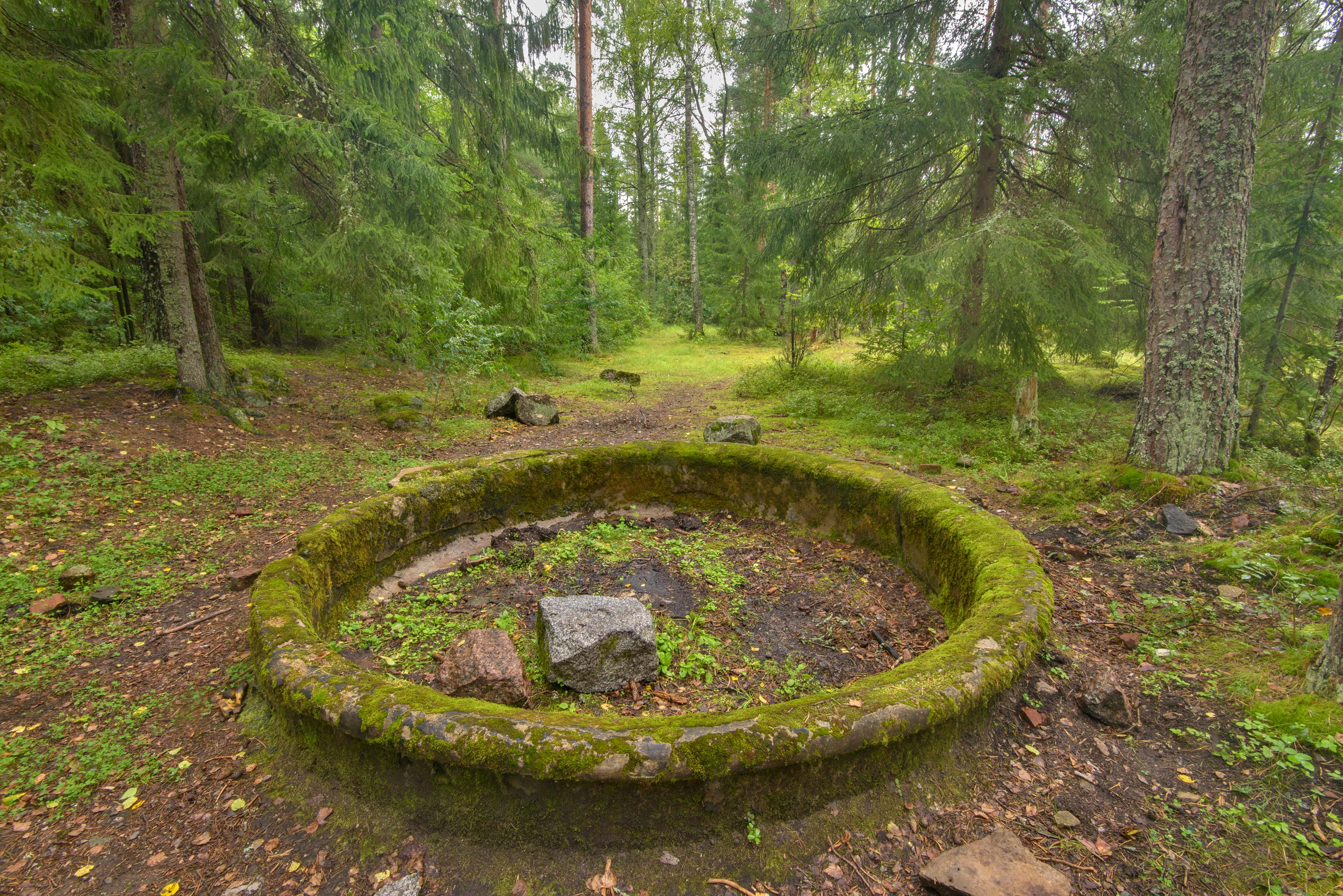 Round fountain of Bienkovsky Mansion in...Petersburg. Leningrad Region, Russia