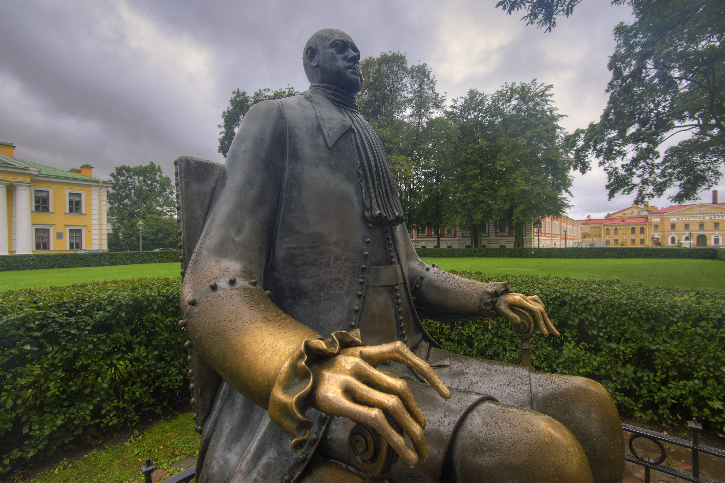 Right hand of Peter the Great sculpture in Peter and Paul Fortress. St.Petersburg, Russia