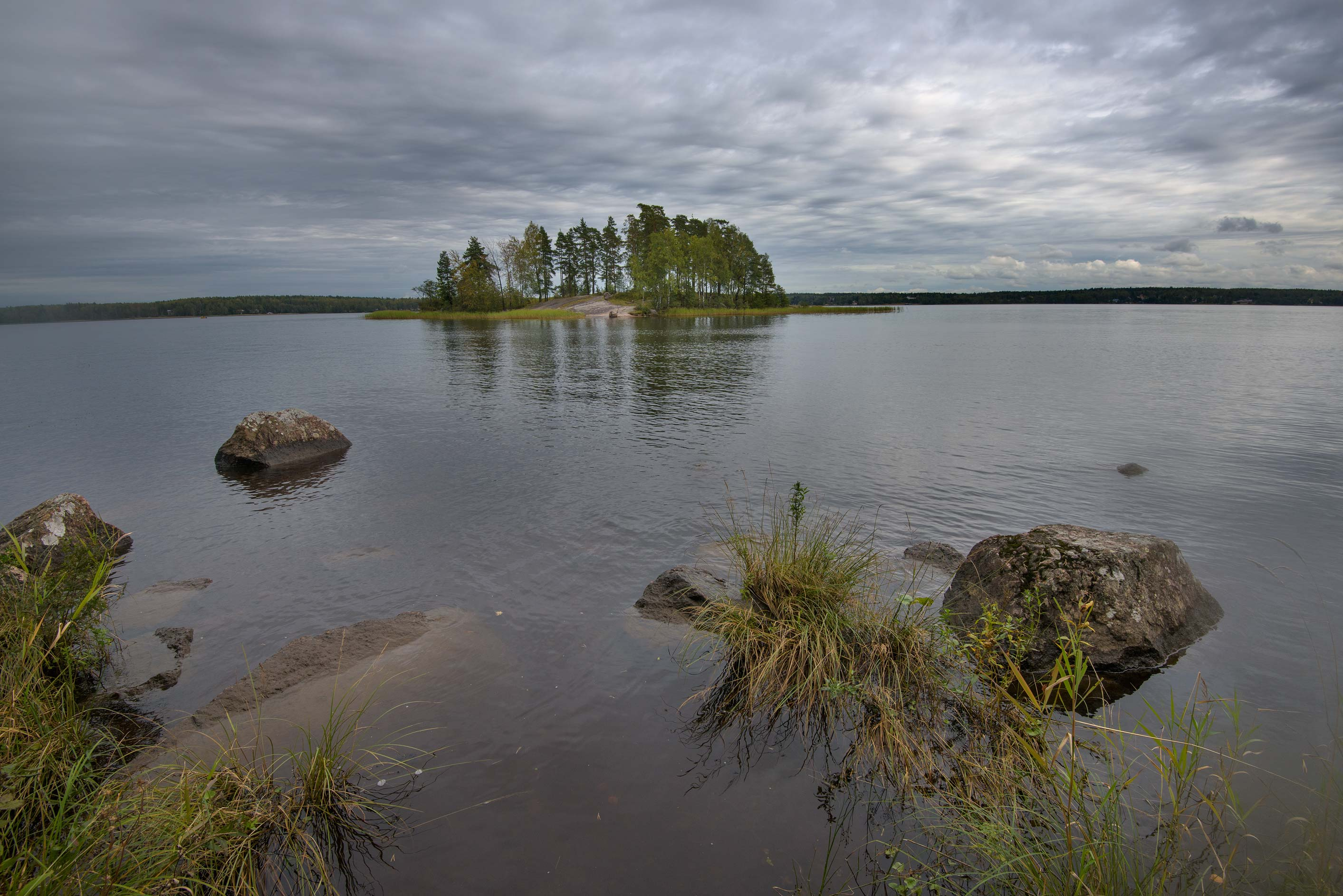 Zashchitnaya Bay and Love (33 Pines) Island. Vyborg, Russia