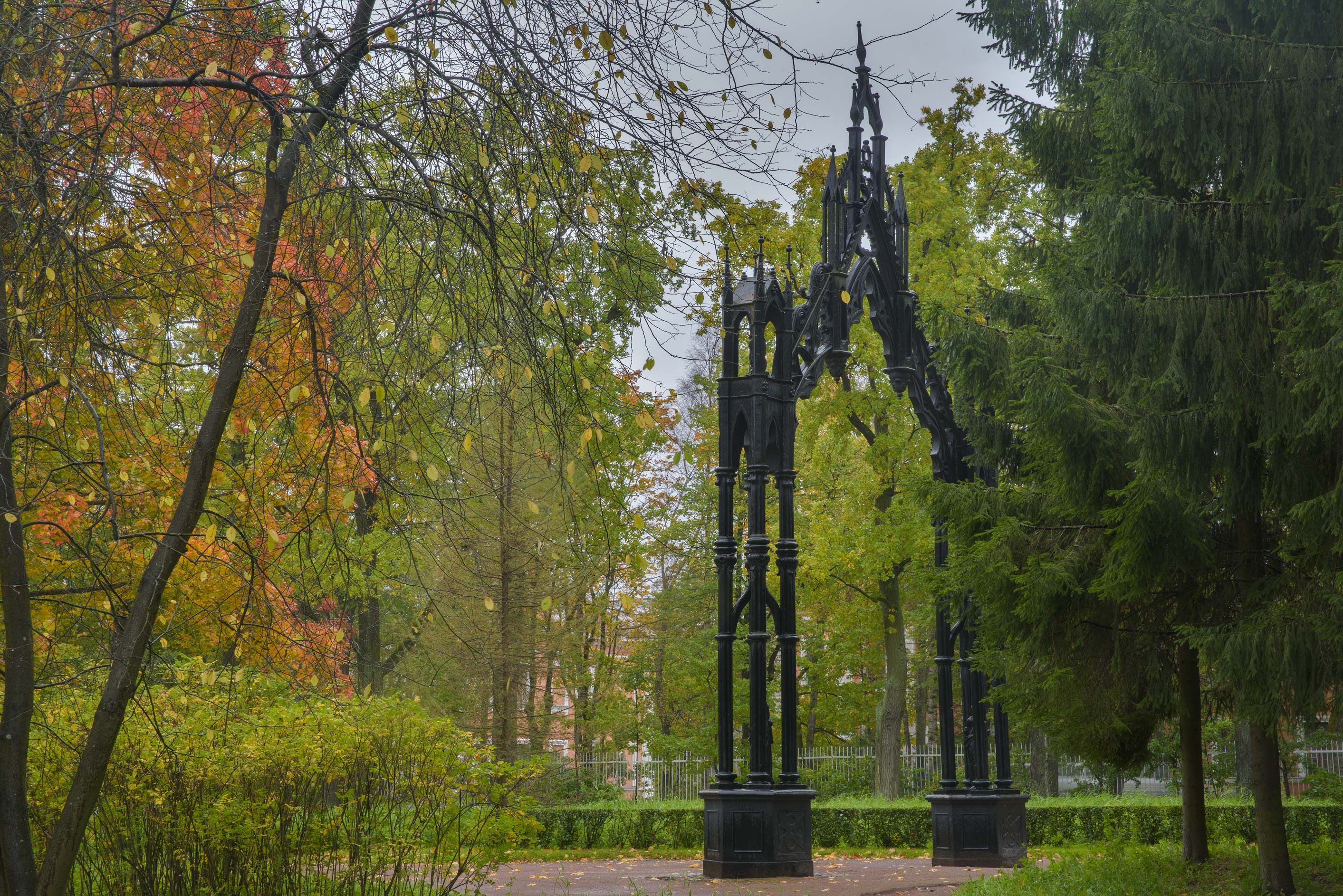 Gothic Gate in Catherine Park. Pushkin (former Tsarskoe Selo) near St.Petersburg, Russia