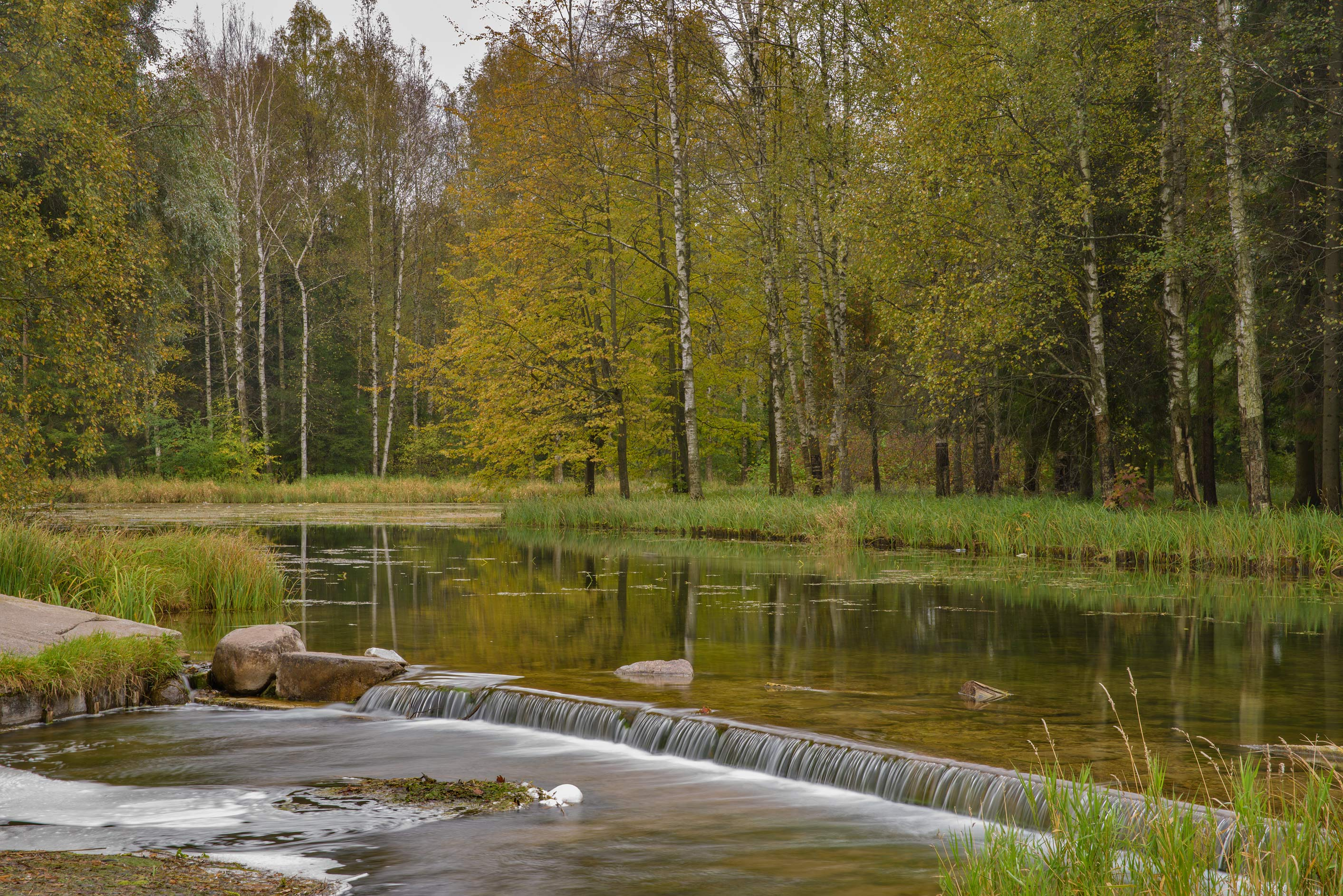 Waterfall of Grebnoy Canal in Gatchina Park. Gatchina, a suburb of St.Petersburg, Russia