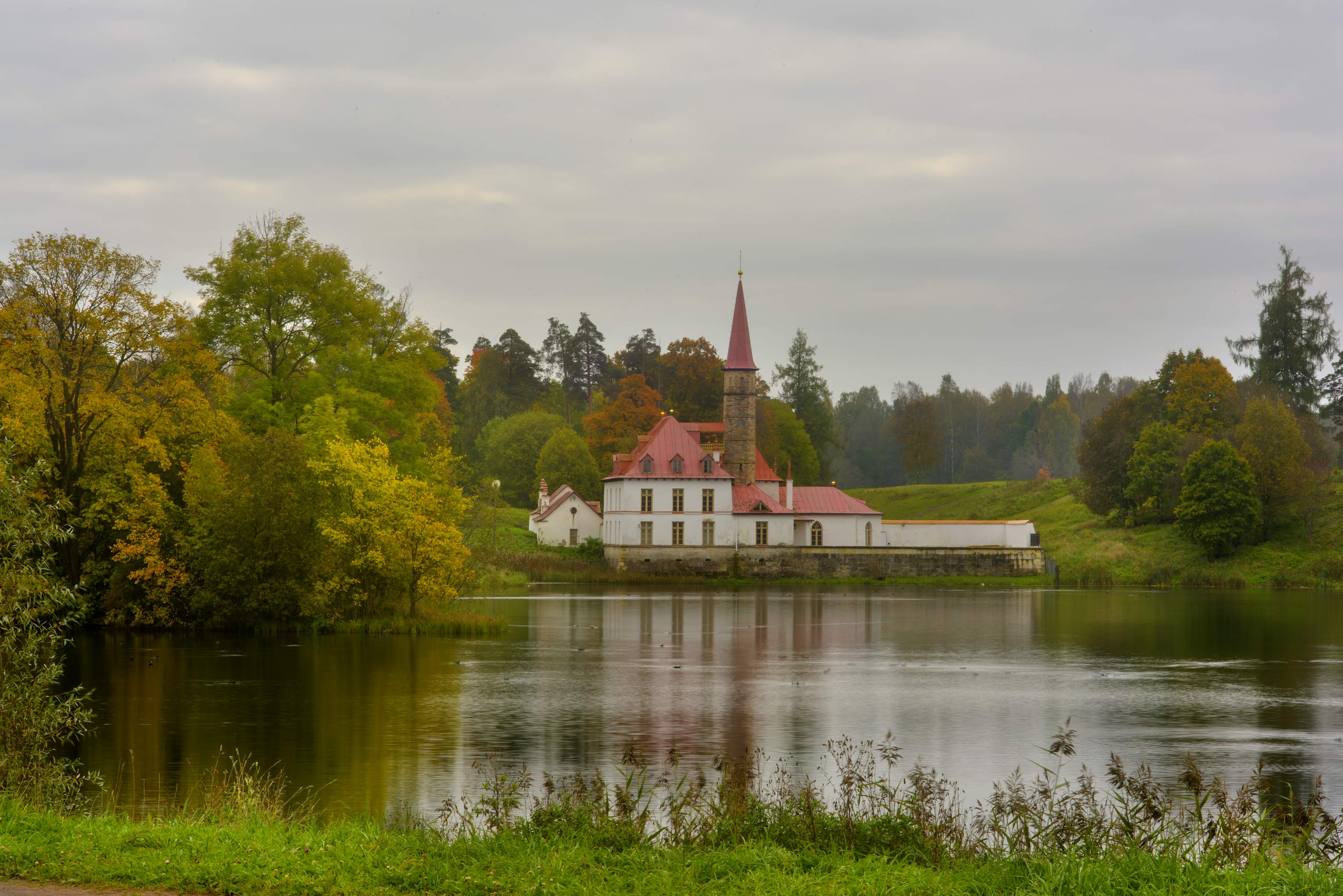 Prioratsky Palce on Chornoe Lake in Gatchina Park...a suburb of St.Petersburg, Russia