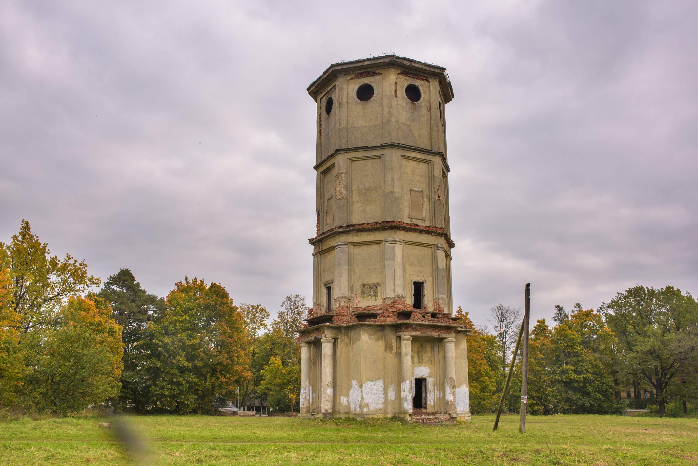 Old water tower near Filkino Lake. Gatchina, a suburb of St.Petersburg, Russia