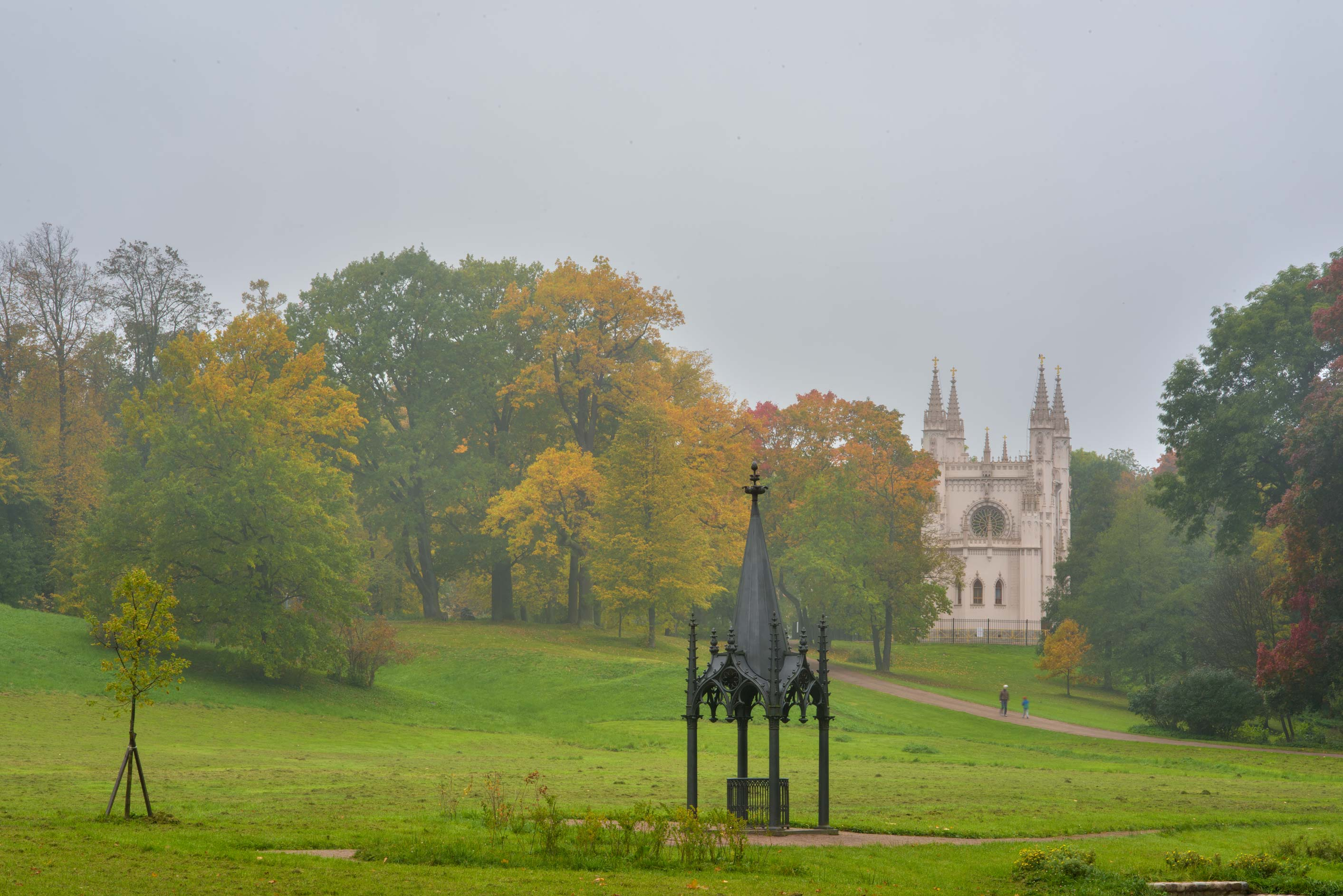 Gothic Well and a chapel in Alexandria Park. Peterhof, a suburb of St.Petersburg, Russia