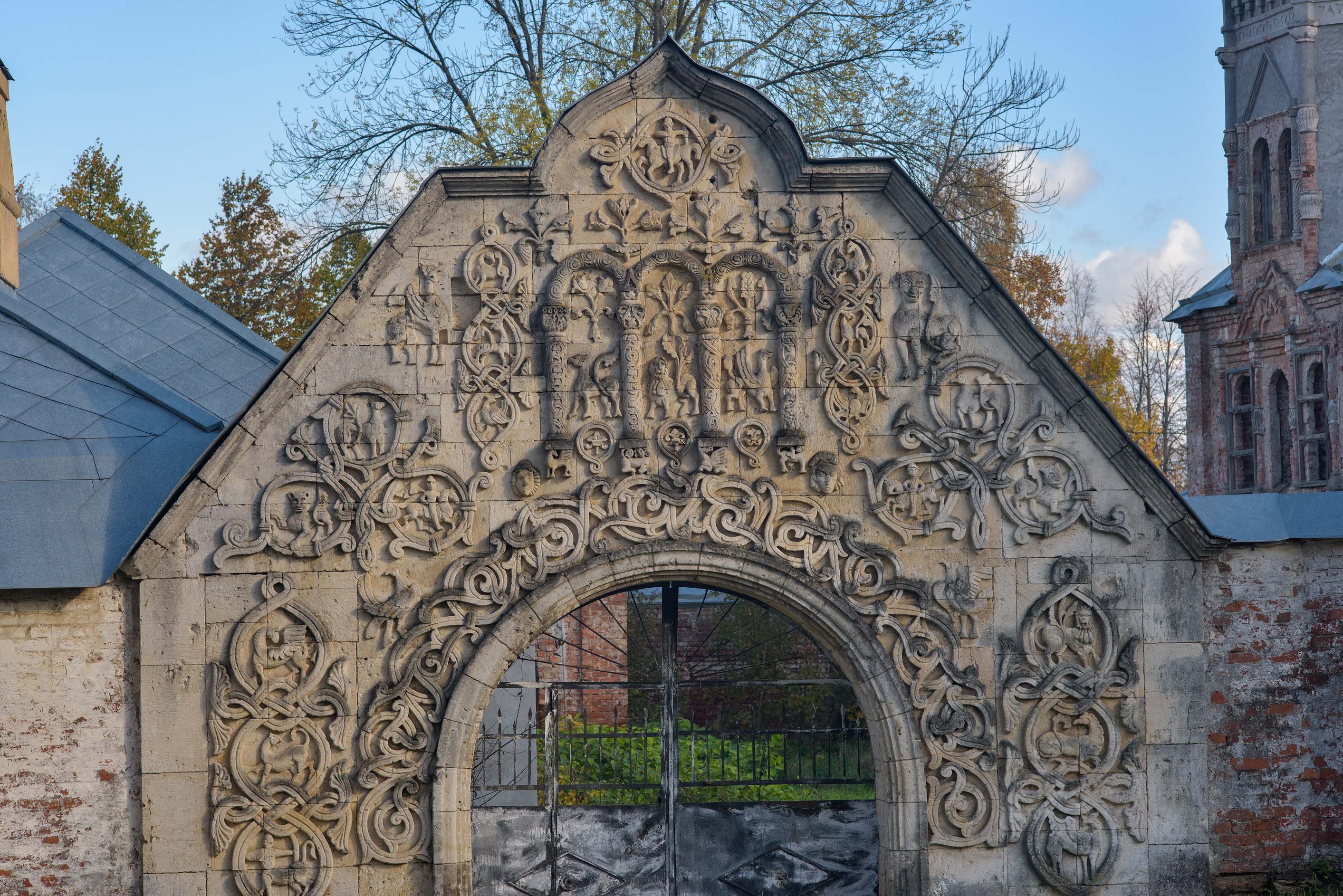 White Stone Gate of Fiodorovsky Gorodok. Pushkin...south from St.Petersburg, Russia