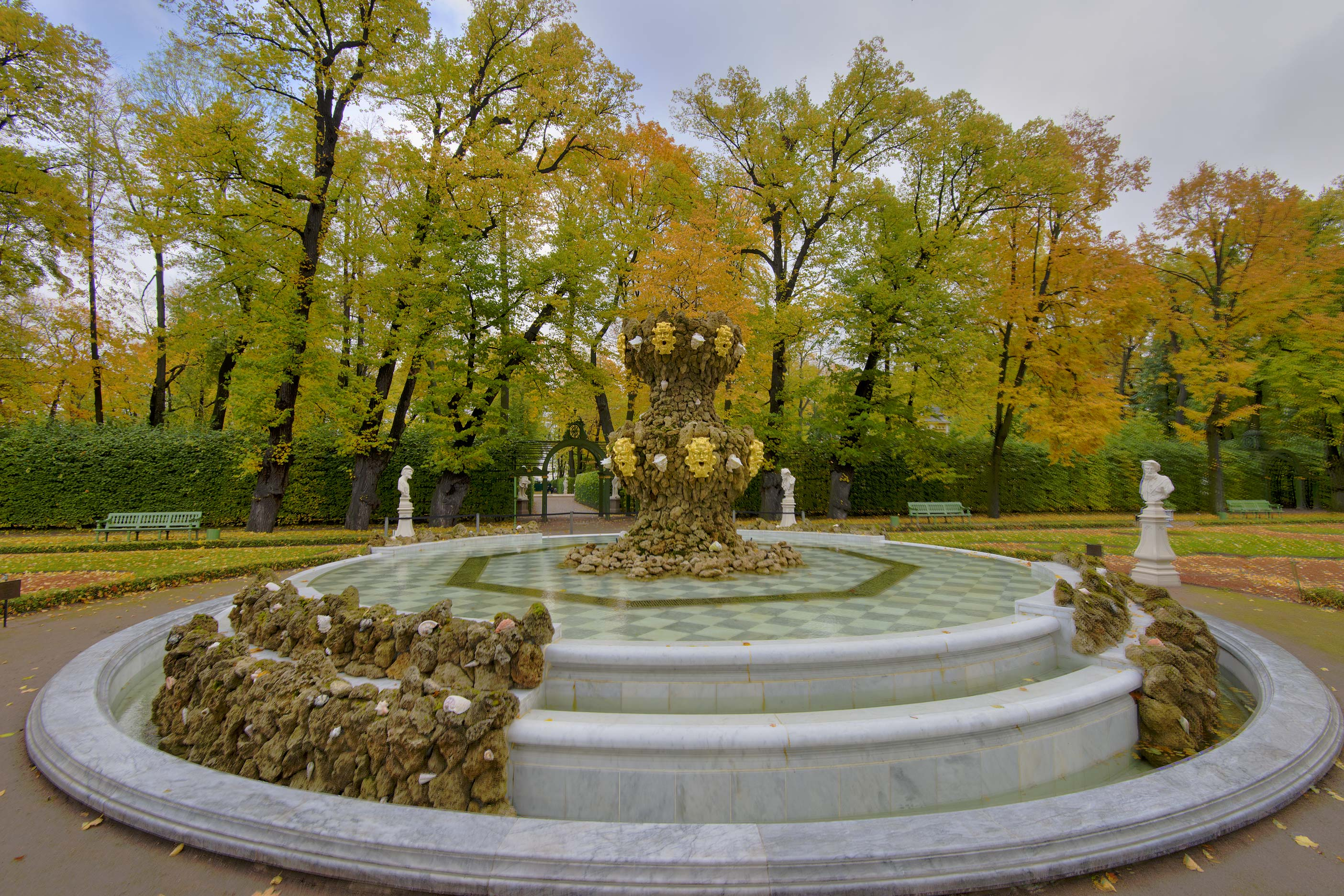 Crowning Fountain in Letniy Sad (Summer Garden). St.Petersburg, Russia