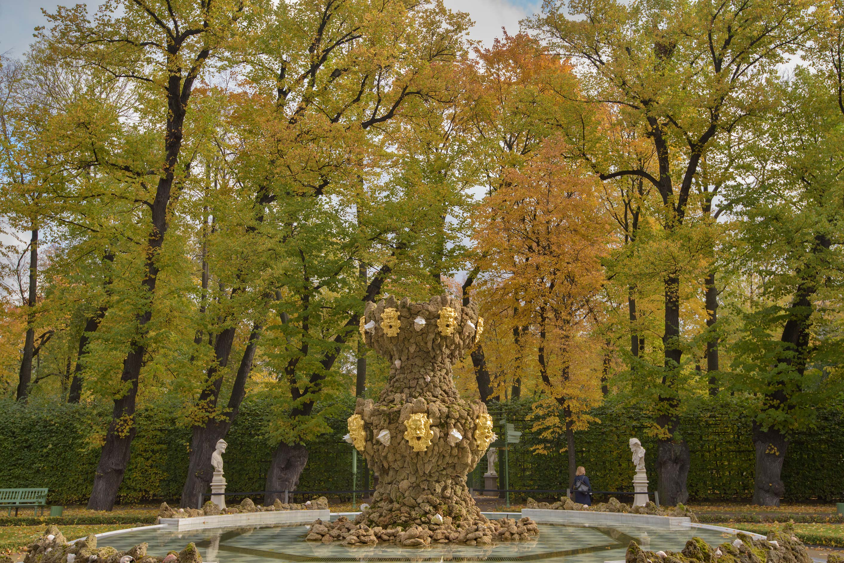 Fall colors of Grand Parterre in Letniy Sad (Summer Garden). St.Petersburg, Russia