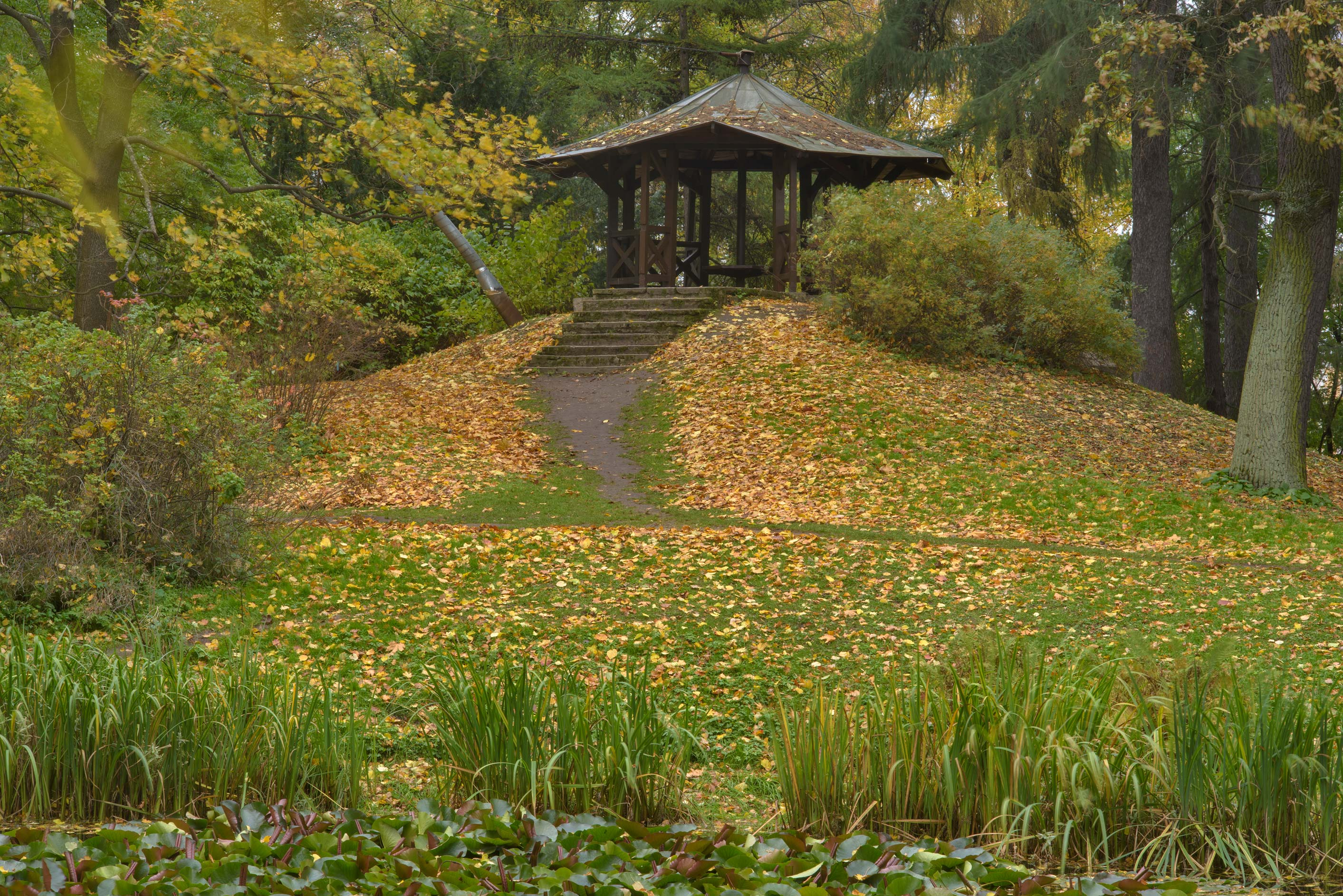 Gazebo on a hill in Botanic Gardens of Komarov Botanical Institute. St.Petersburg, Russia