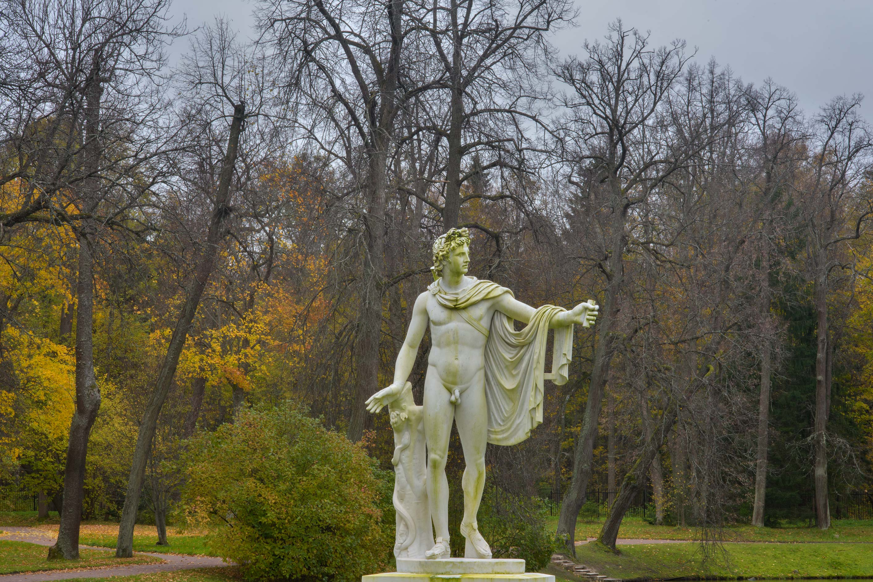 A sculpture near Chinese Pond in Upper Park in...West from St.Petersburg, Russia