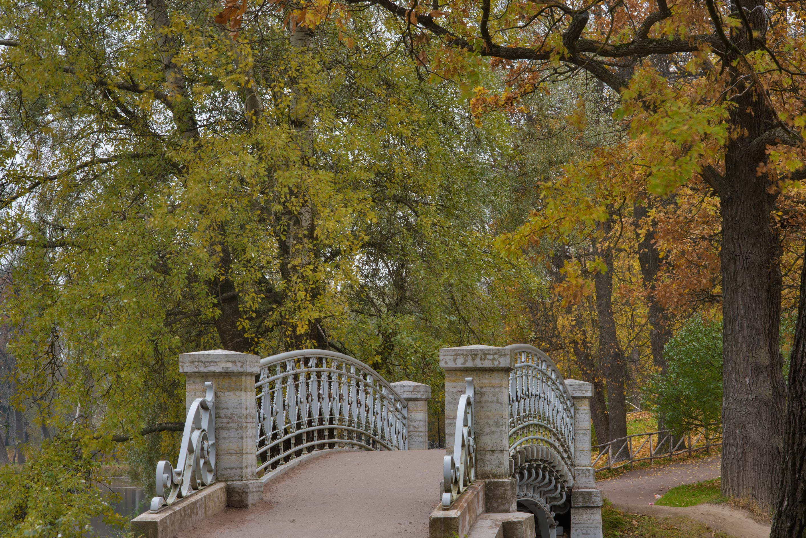 Iron foot bridge in Gatchina Park. Gatchina, a suburb of St.Petersburg, Russia