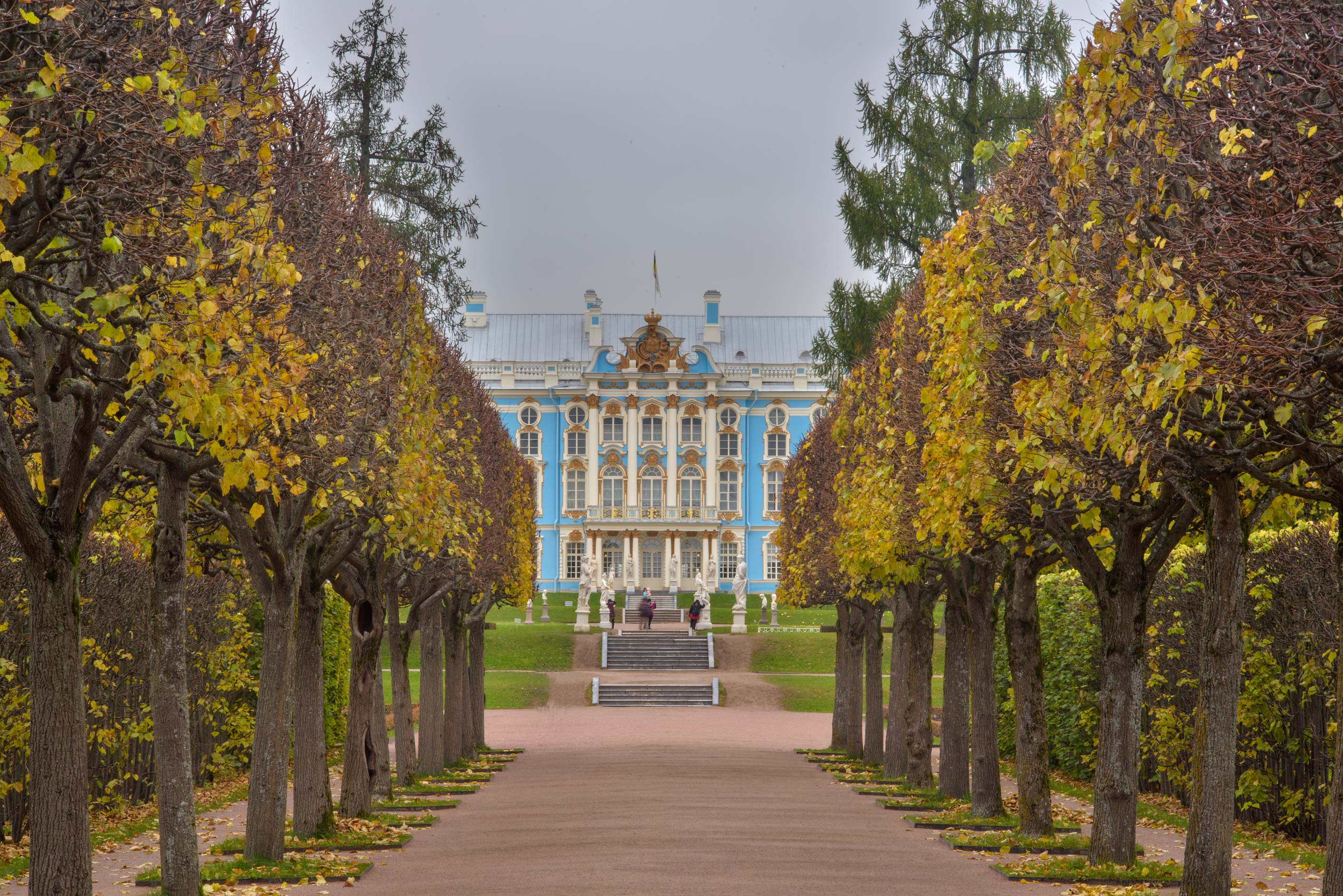 Palace from Hermitage Alley in Catherine Park...Selo) near St.Petersburg, Russia